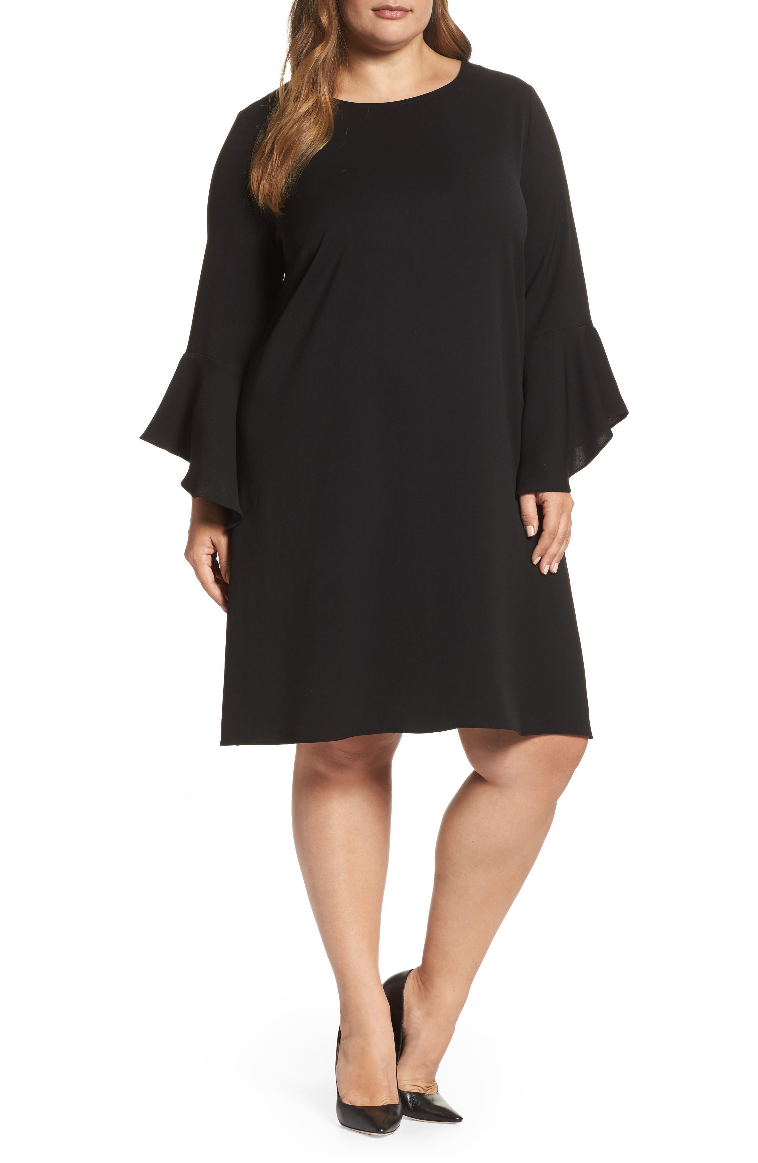 Alternate Image 1 Selected - Glamorous Bell Sleeve Shift Dress (Plus Size)