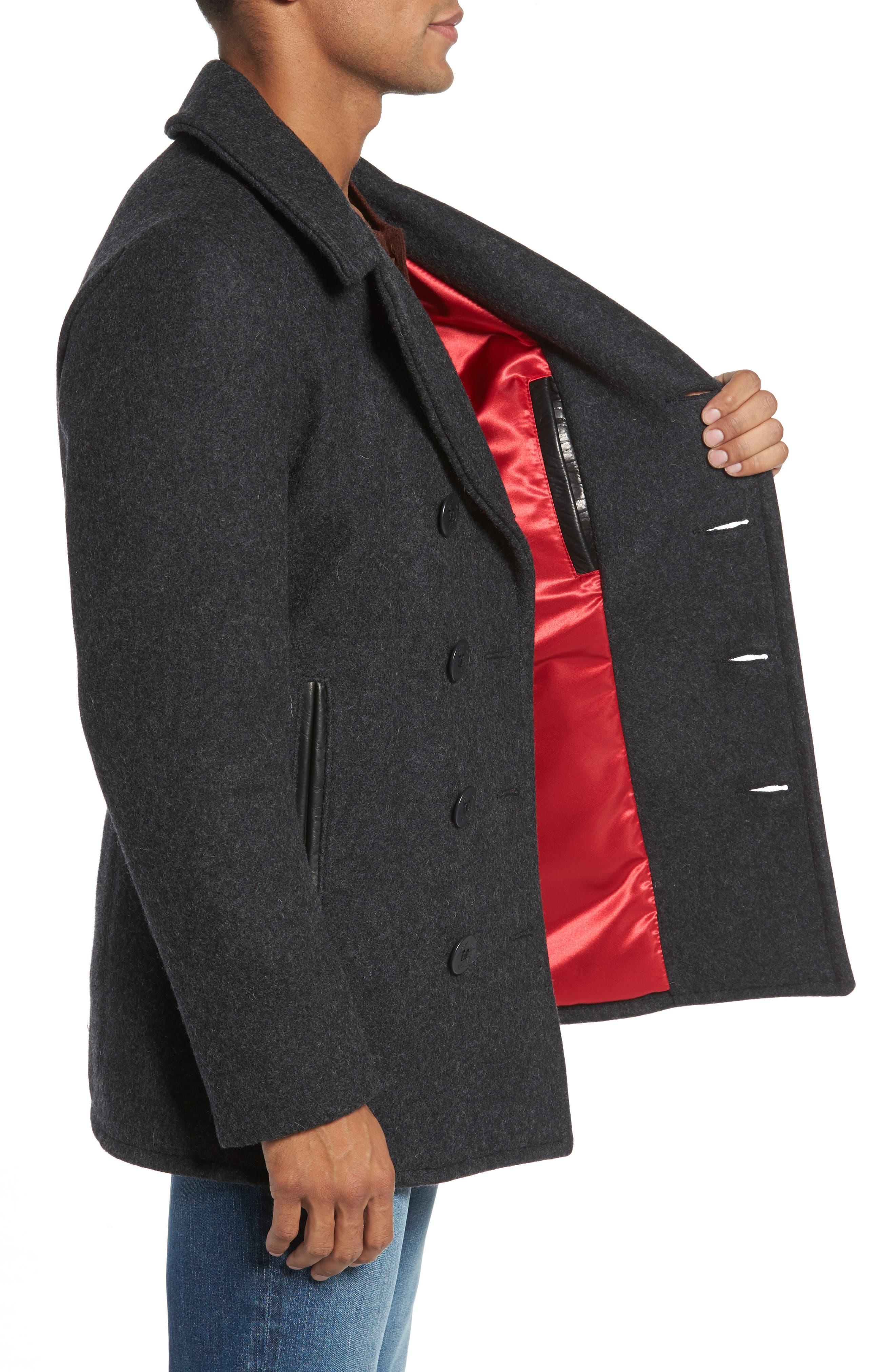 Alternate Image 3  - Schott NYC Slim Fit Melton Wool Blend Peacoat