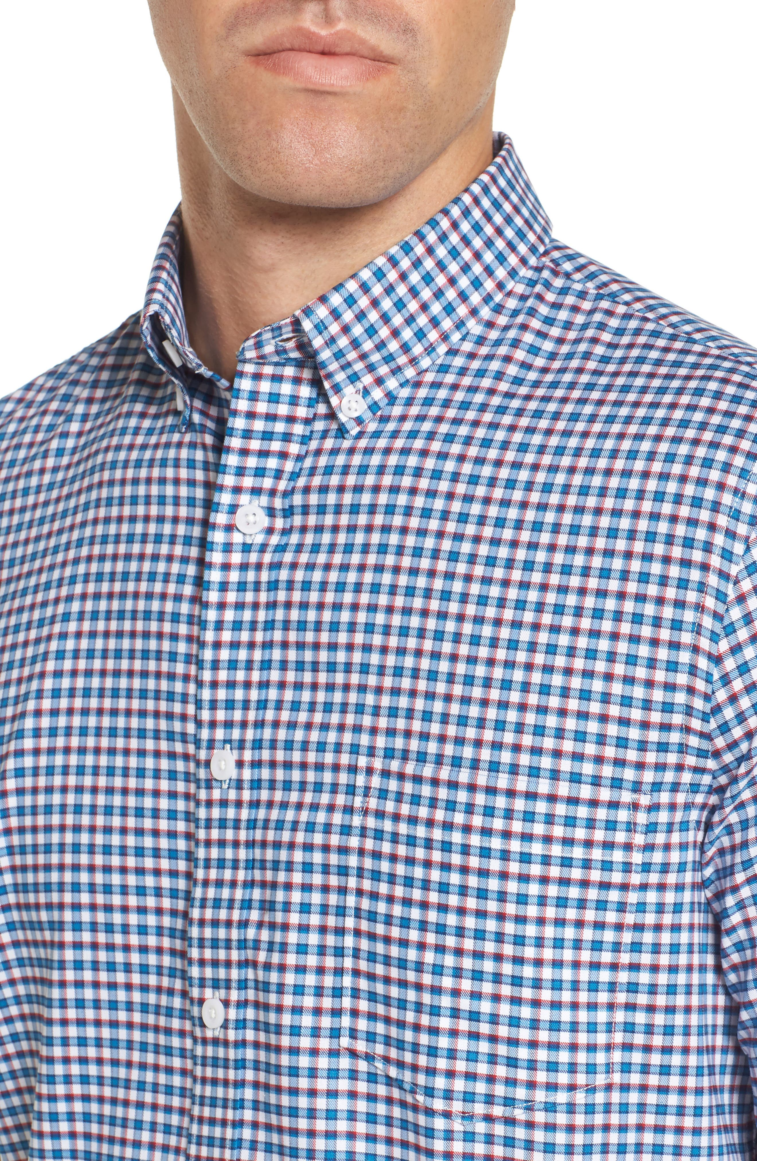 Slim Fit Tech-Smart Mini Check Sport Shirt,                             Alternate thumbnail 4, color,                             Blue Estate White Mini Check