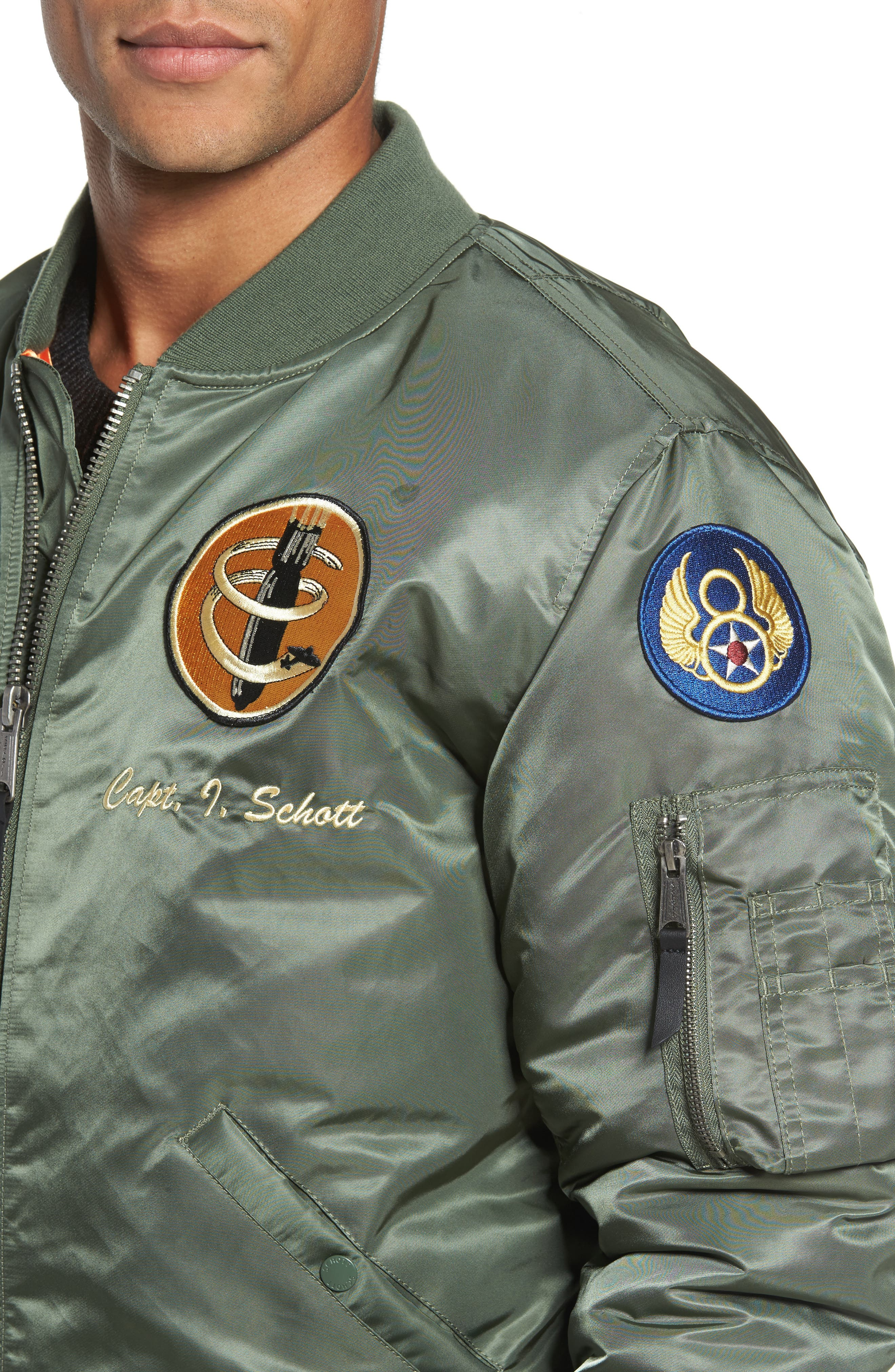 Highly Decorated Embroidered Flight Jacket,                             Alternate thumbnail 4, color,                             Sage
