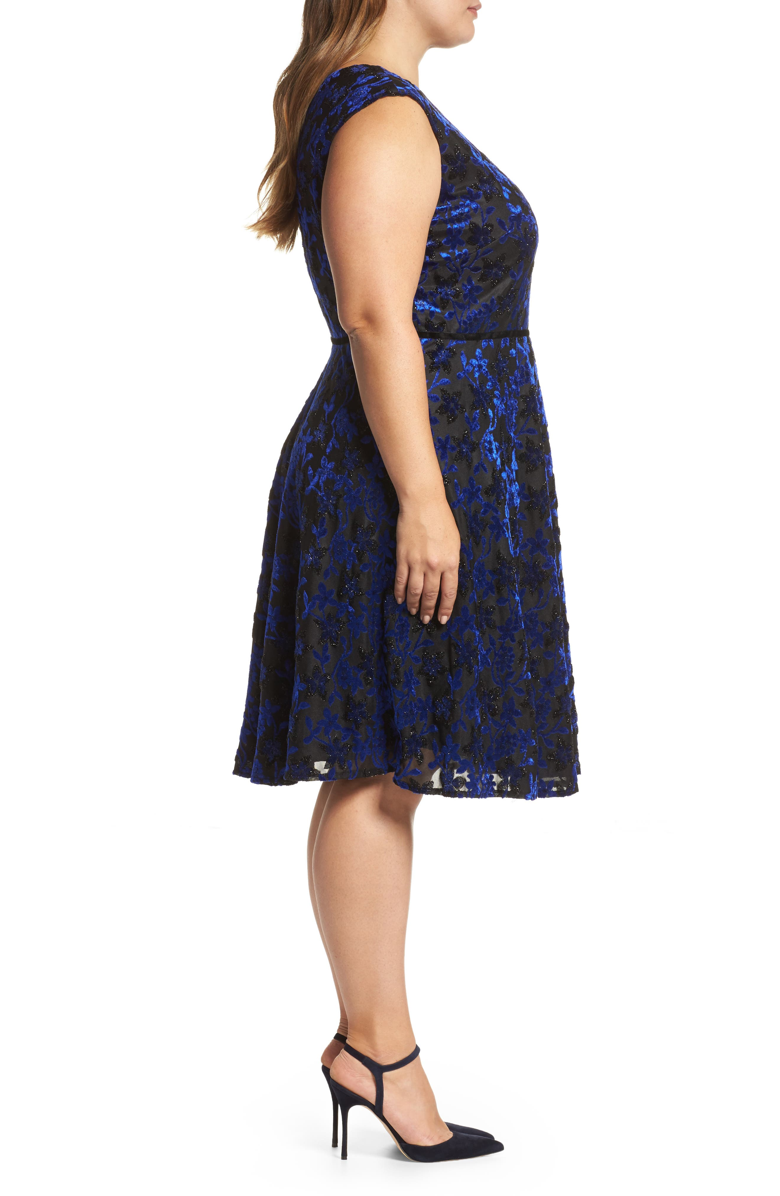 Alternate Image 3  - Tahari Burnout Velvet Fit & Flare Dress (Plus Size)