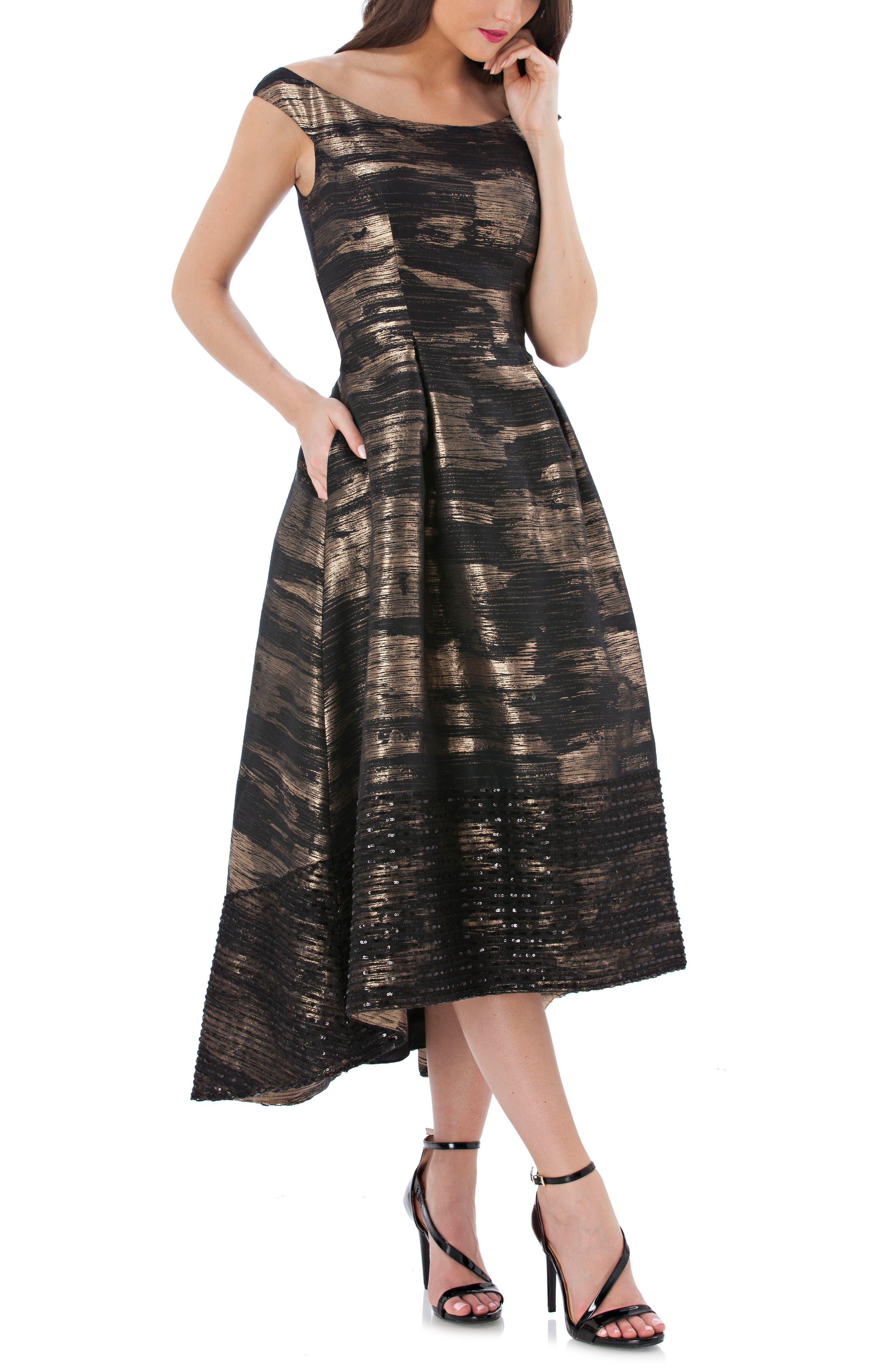 CARMEN MARC VALVO INFUSION Brocade Off The Shoulder Dress, Black ...