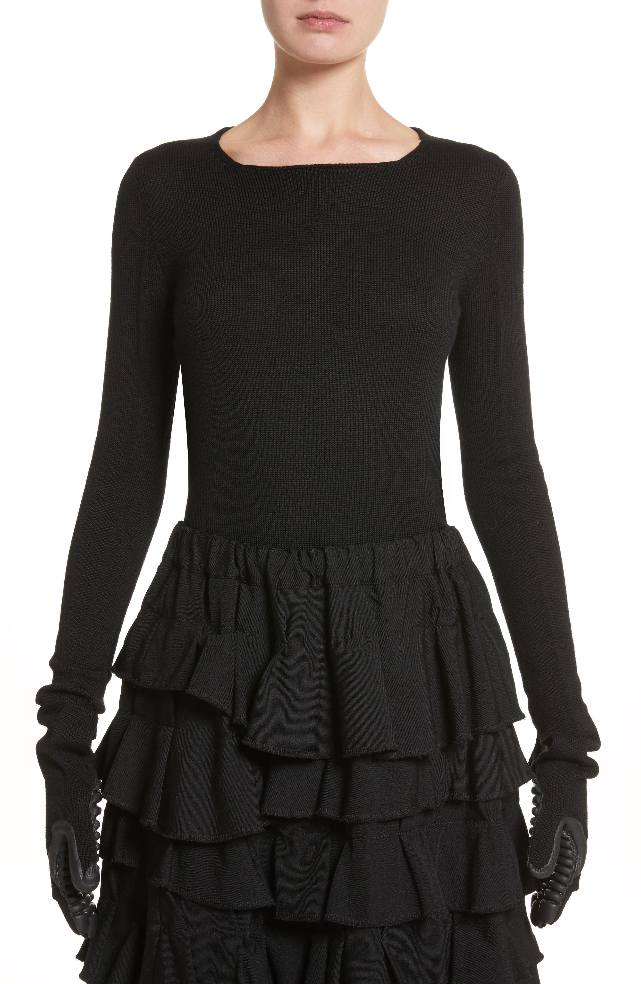 Comme des Garçons Wool Sweater with Rubber Gloves