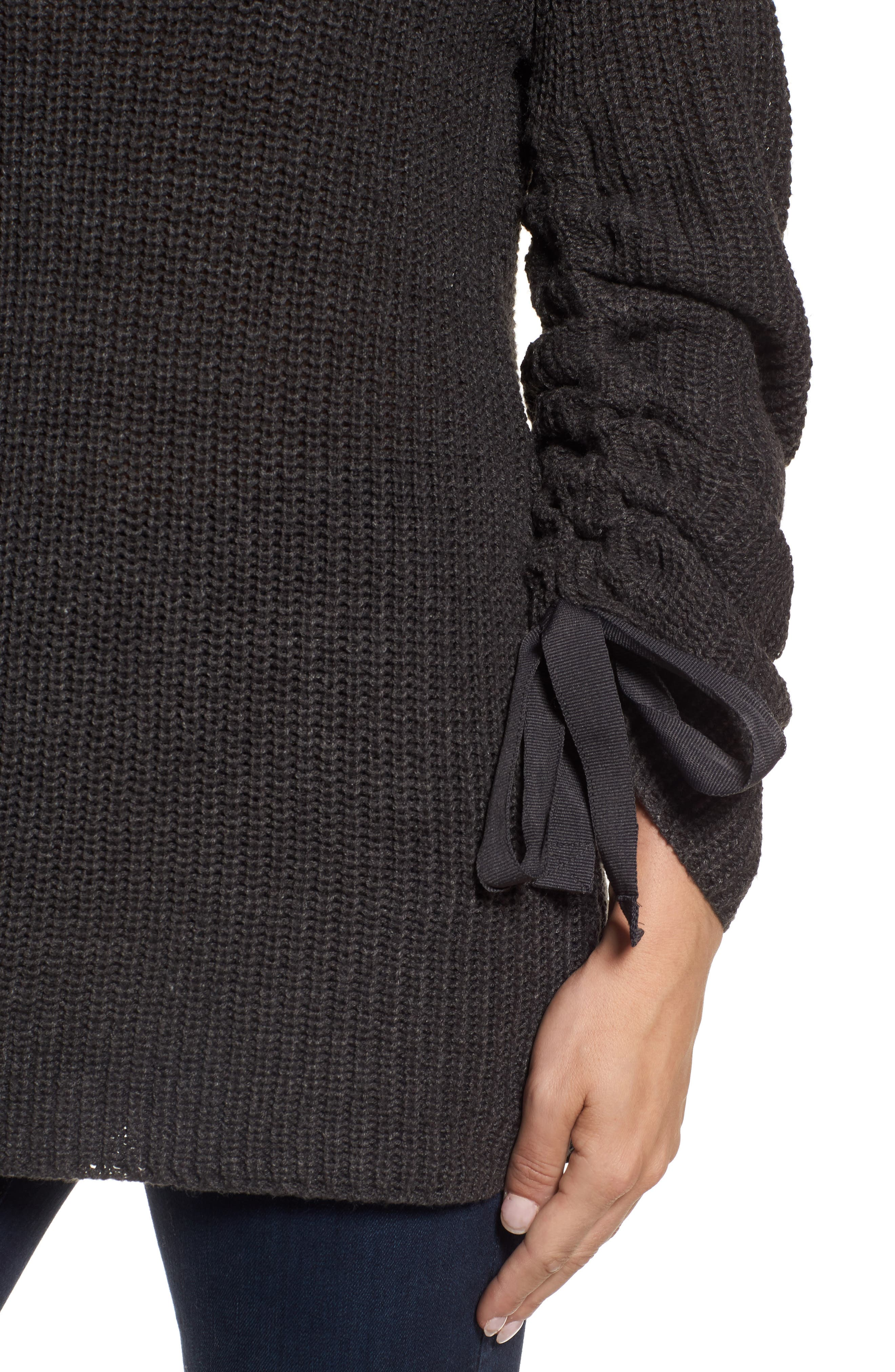 RD Style Tie Sleeve Sweater,                             Alternate thumbnail 4, color,                             Ash Grey