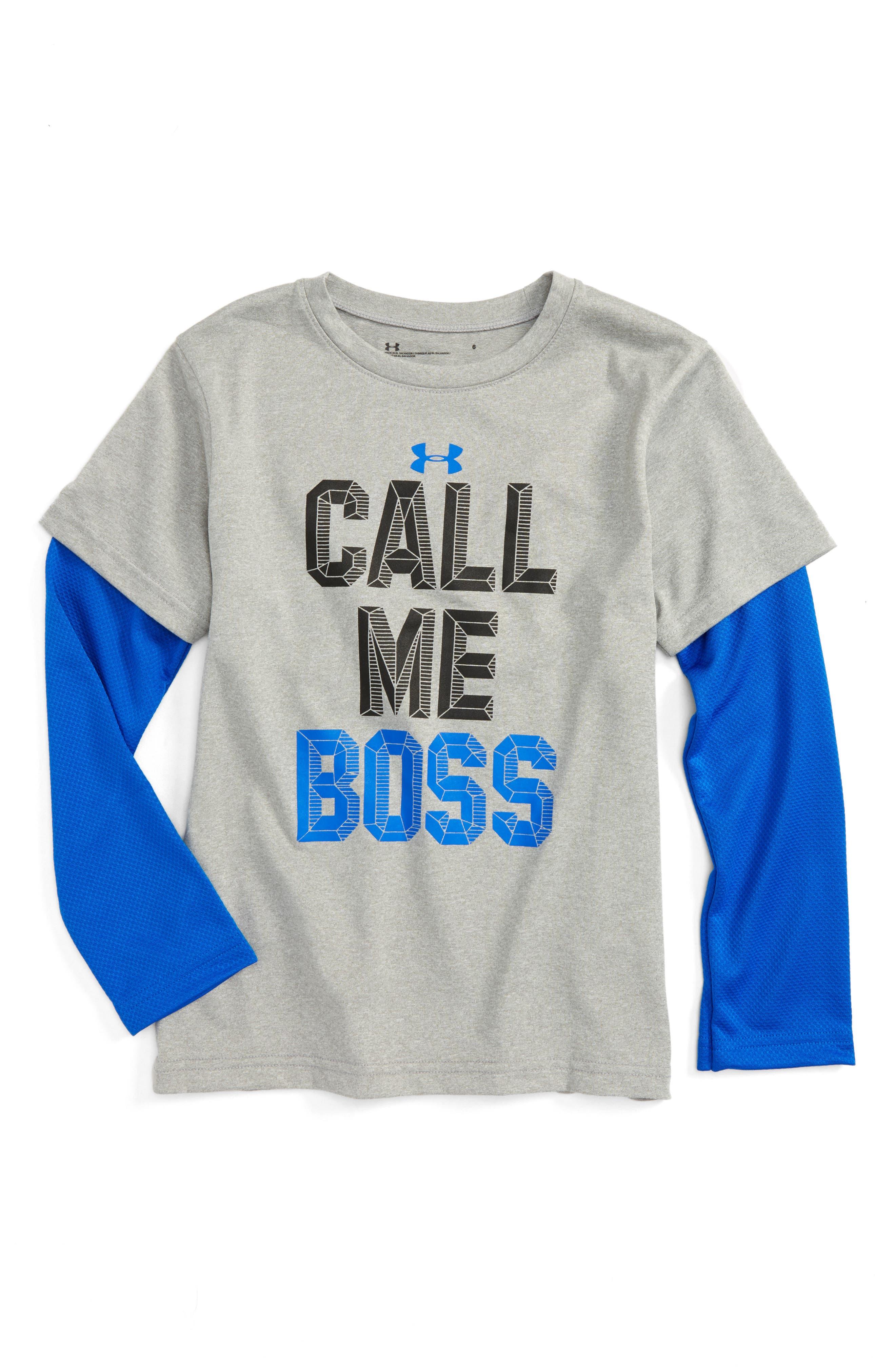 Main Image - Under Armour Call Me Boss - Slider Layered T-Shirt (Toddler Boys & Little Boys)