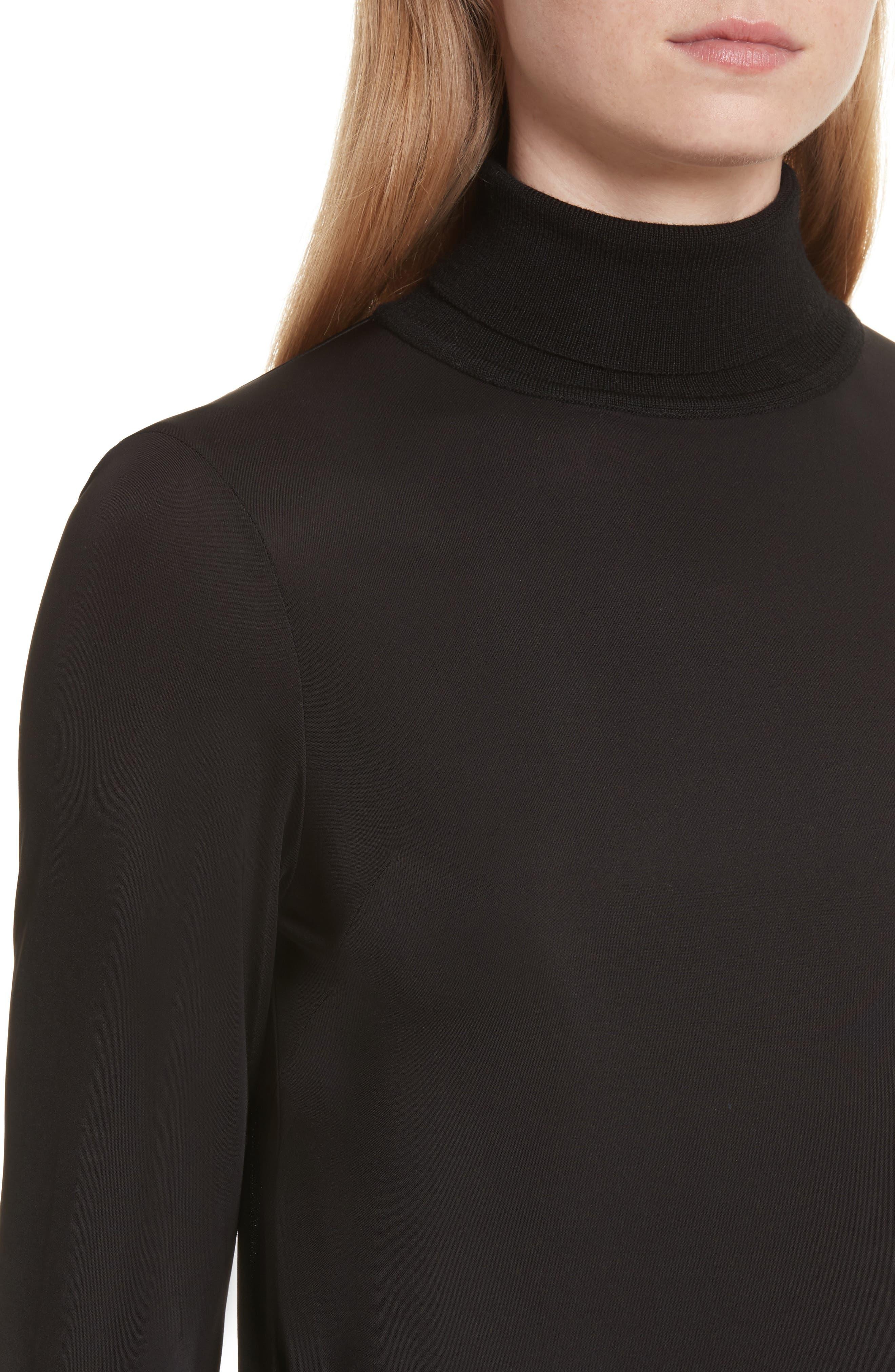 Merino Trim Turtleneck Sweater,                             Alternate thumbnail 4, color,                             Black