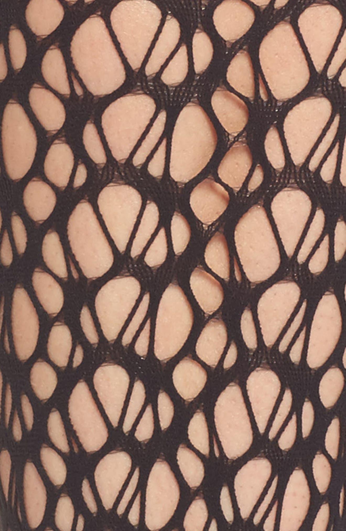 Net Knee High Stockings,                             Alternate thumbnail 2, color,                             Black
