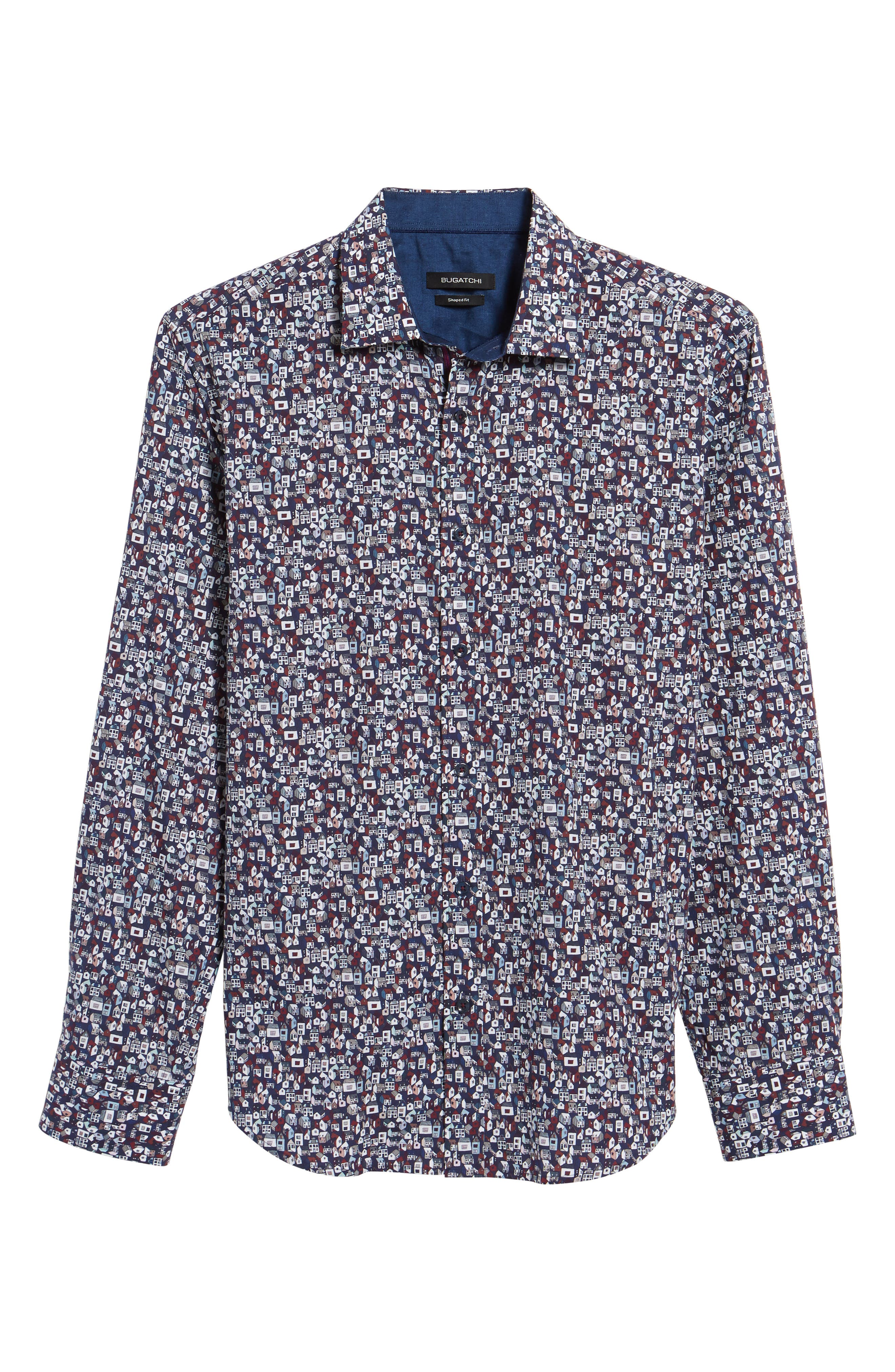 Shaped Fit Print Sport Shirt,                             Alternate thumbnail 6, color,                             Midnight