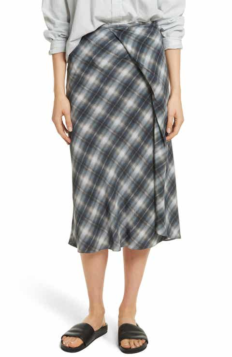 Vince Shadow Plaid Midi Silk Skirt