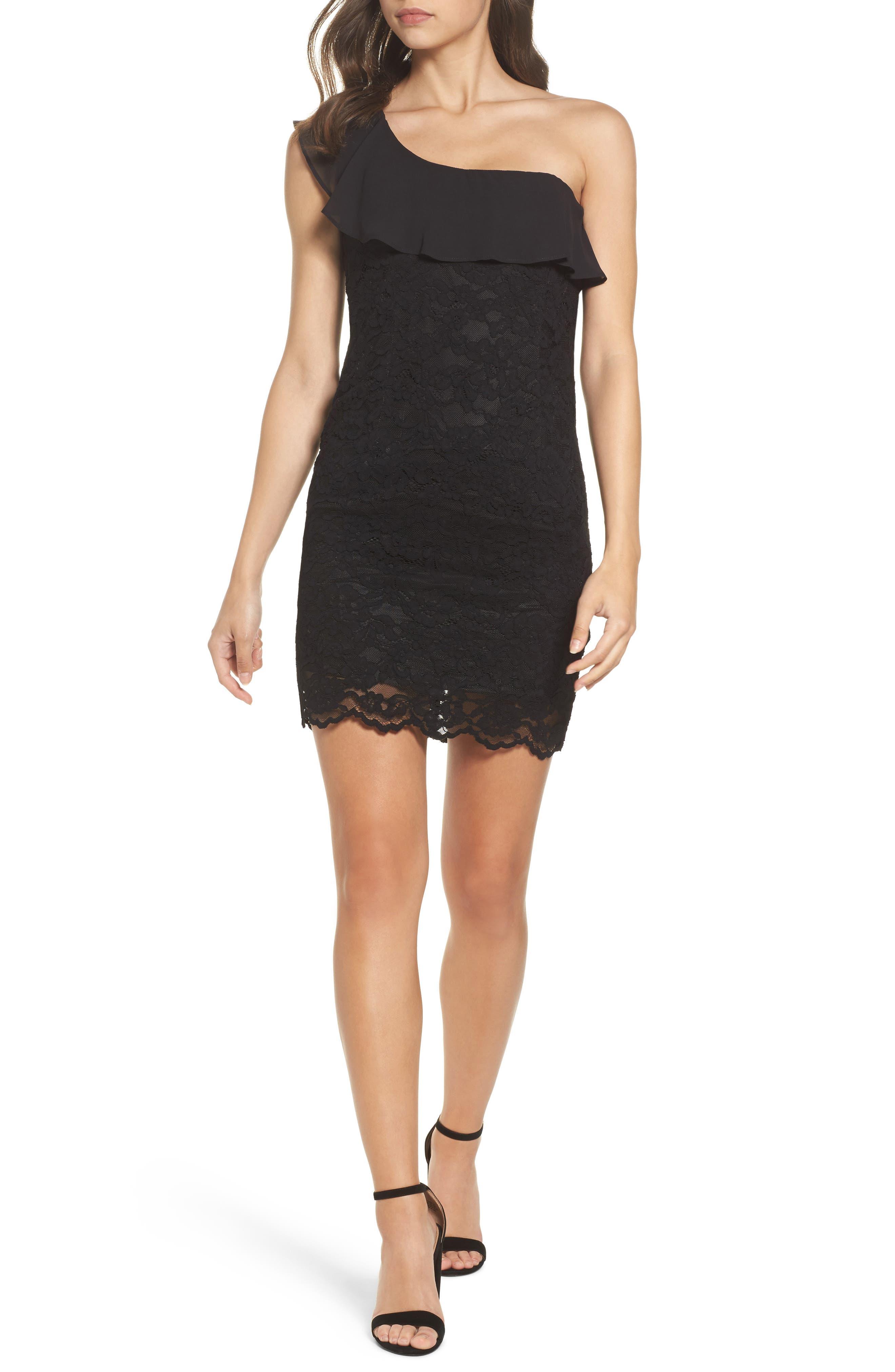 Fiorella One-Shoulder Lace Body-Con Dress,                         Main,                         color, Black