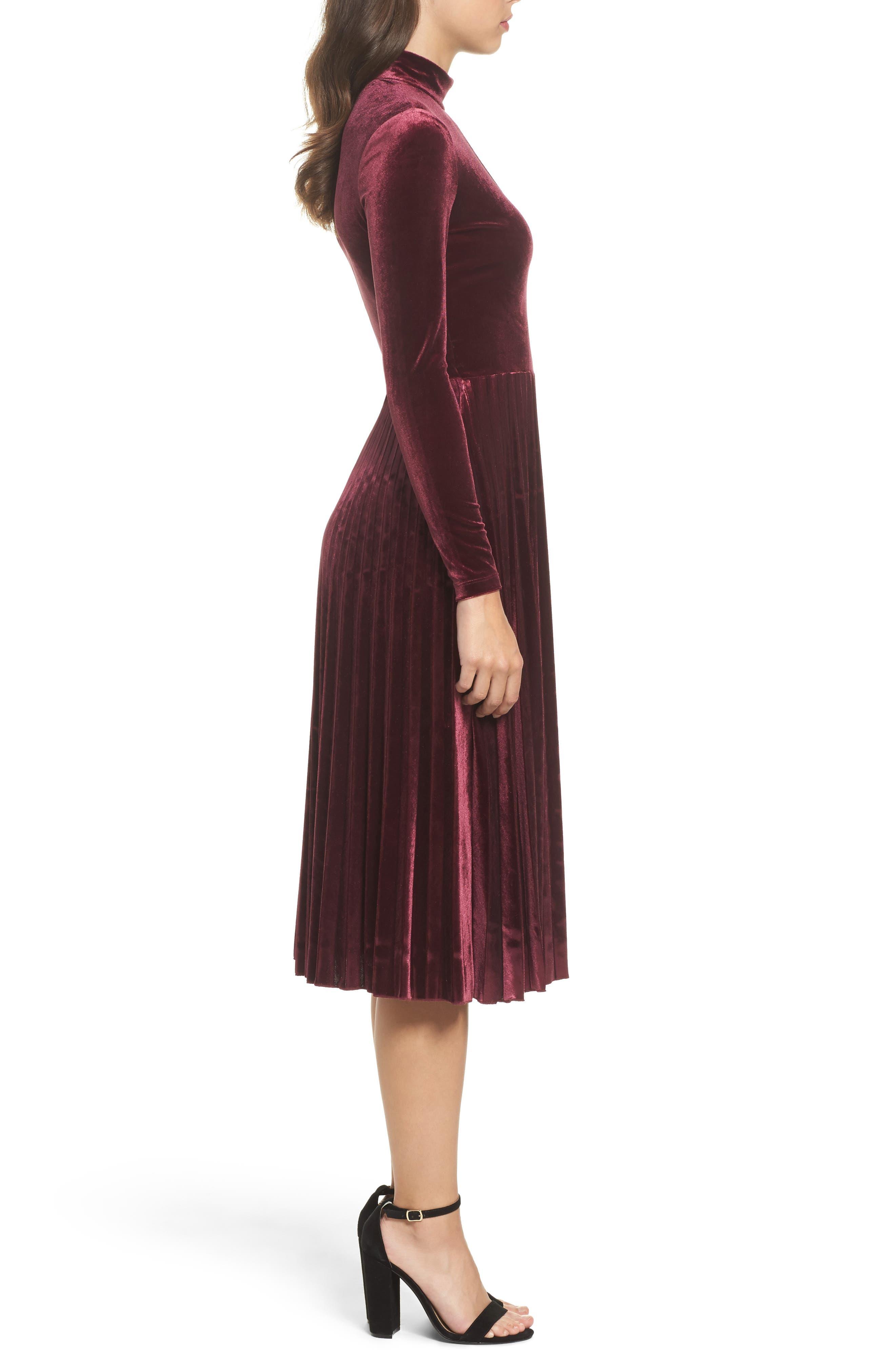 Velvet Midi Dress,                             Alternate thumbnail 3, color,                             Wine