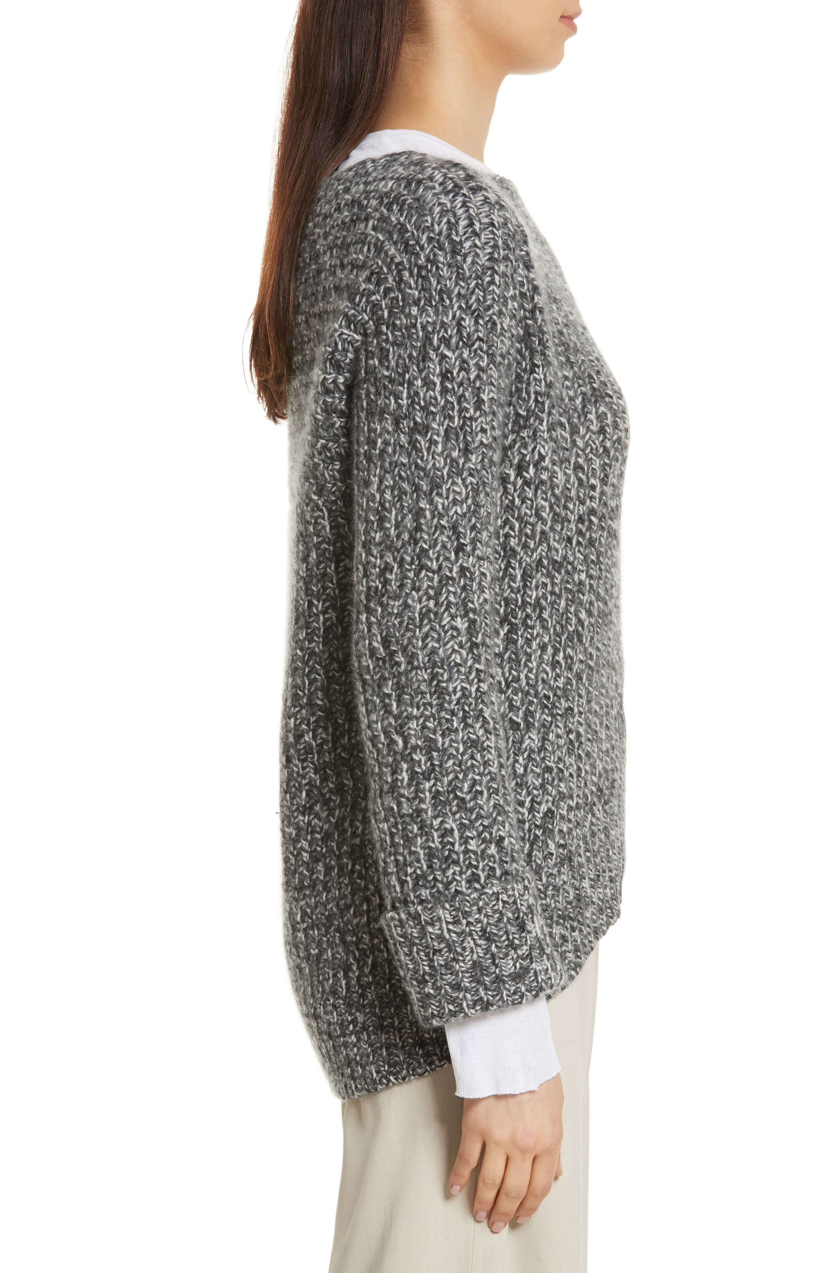 Marled Wool Blend Sweater,                             Alternate thumbnail 3, color,                             Grey