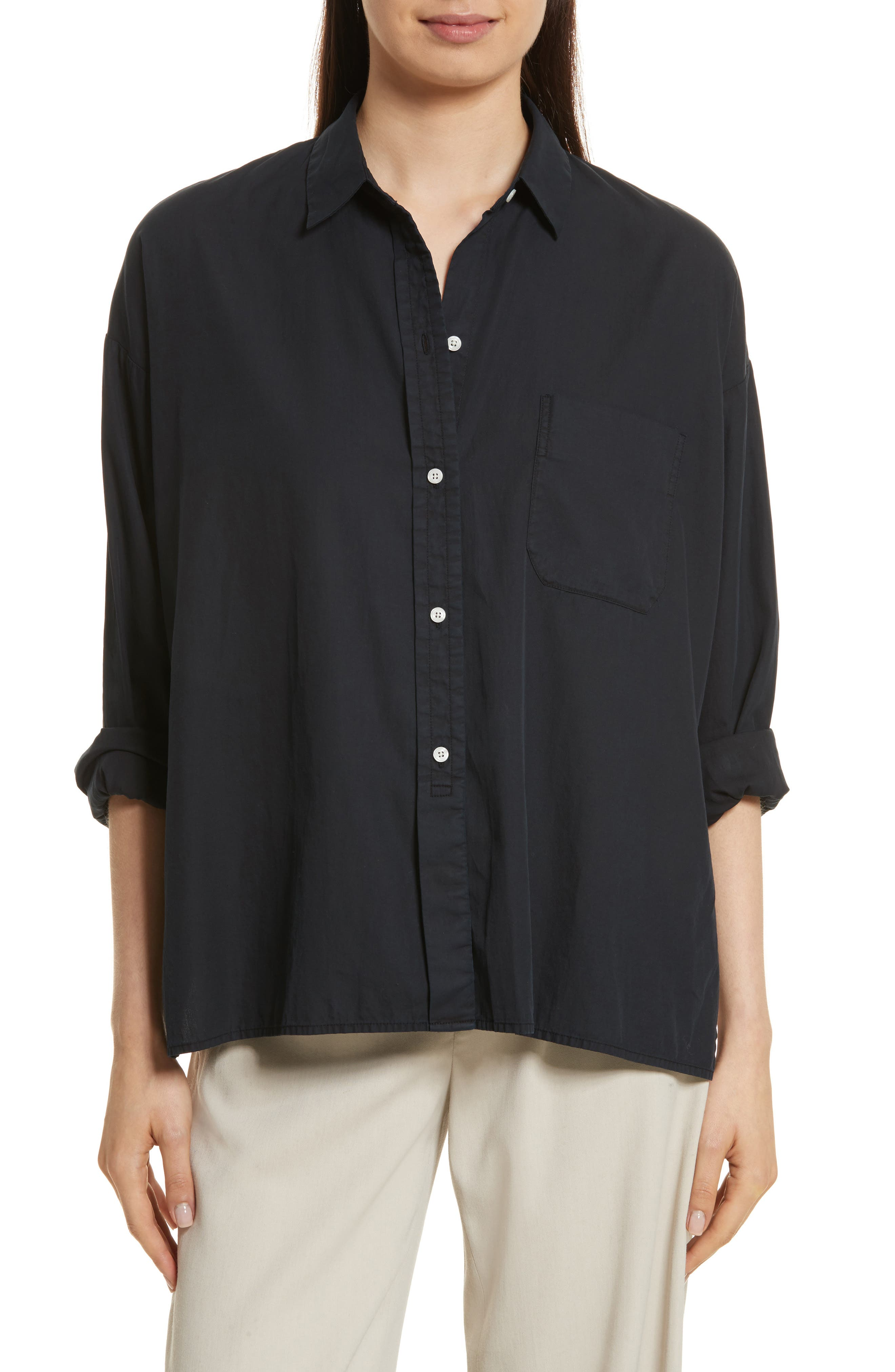 Vince Single Pocket Cotton & Silk Shirt