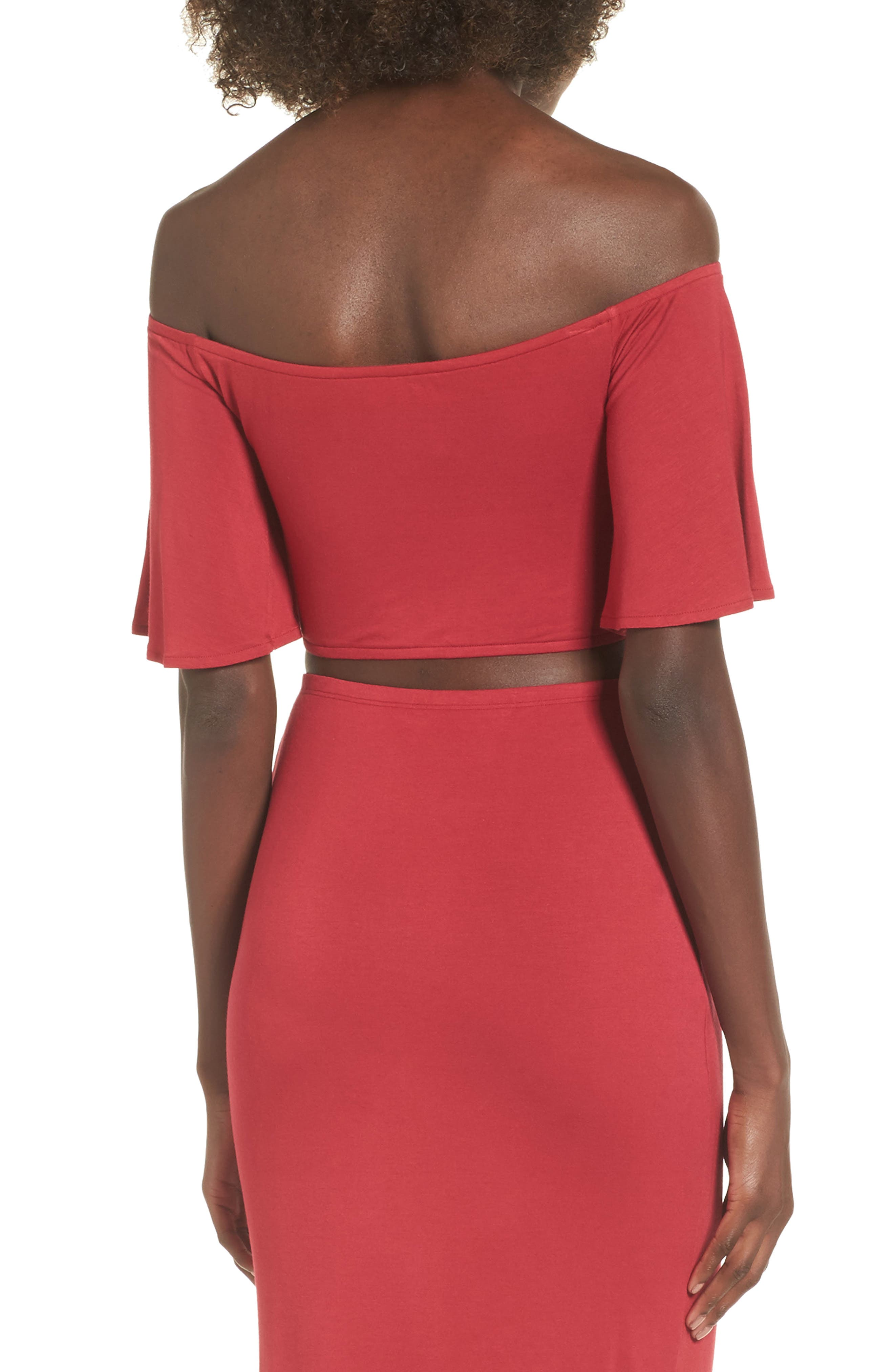 Hills Crop Top,                             Alternate thumbnail 2, color,                             Red