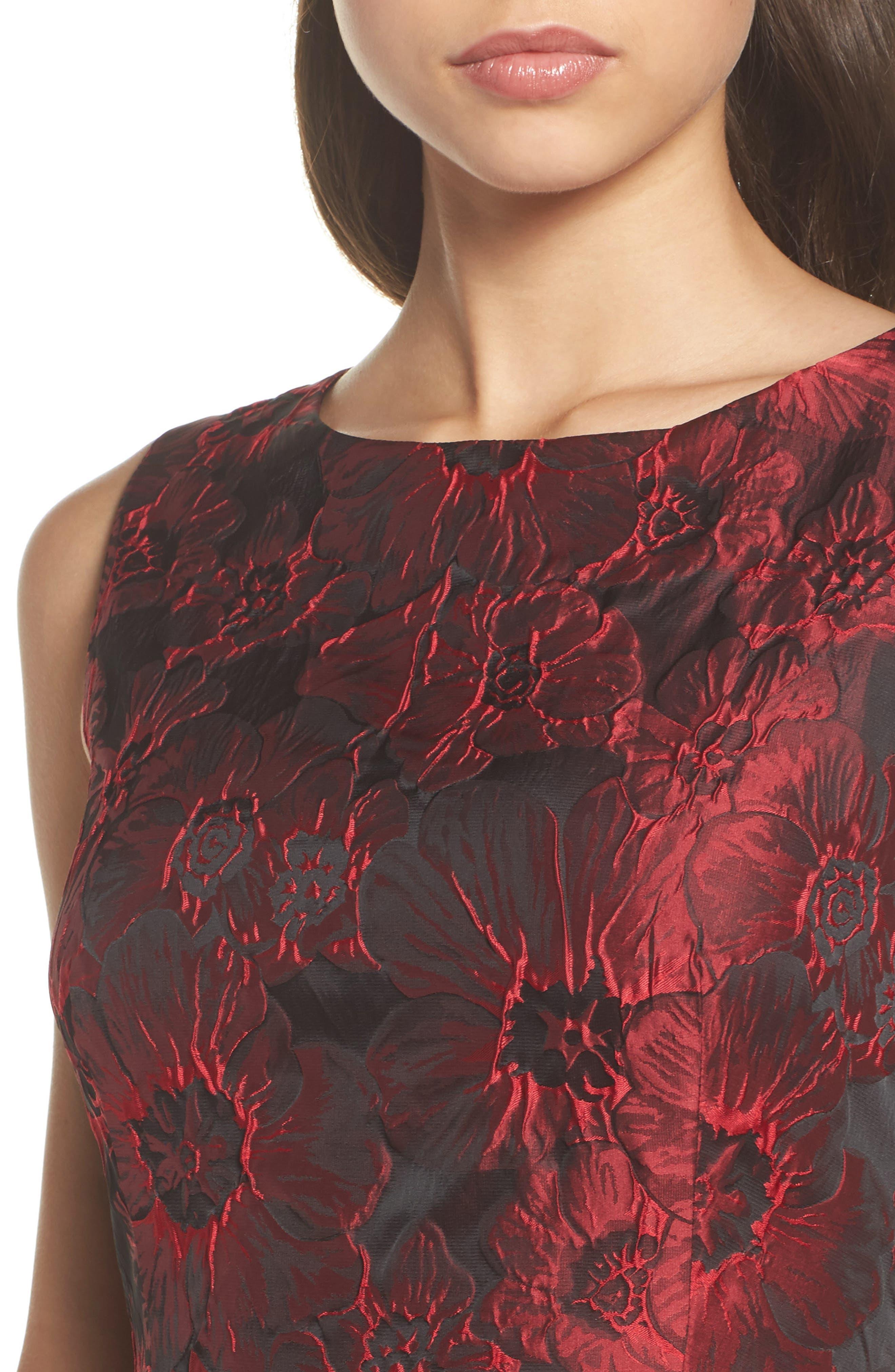 Jacquard High/Low Dress,                             Alternate thumbnail 4, color,                             Red & Black