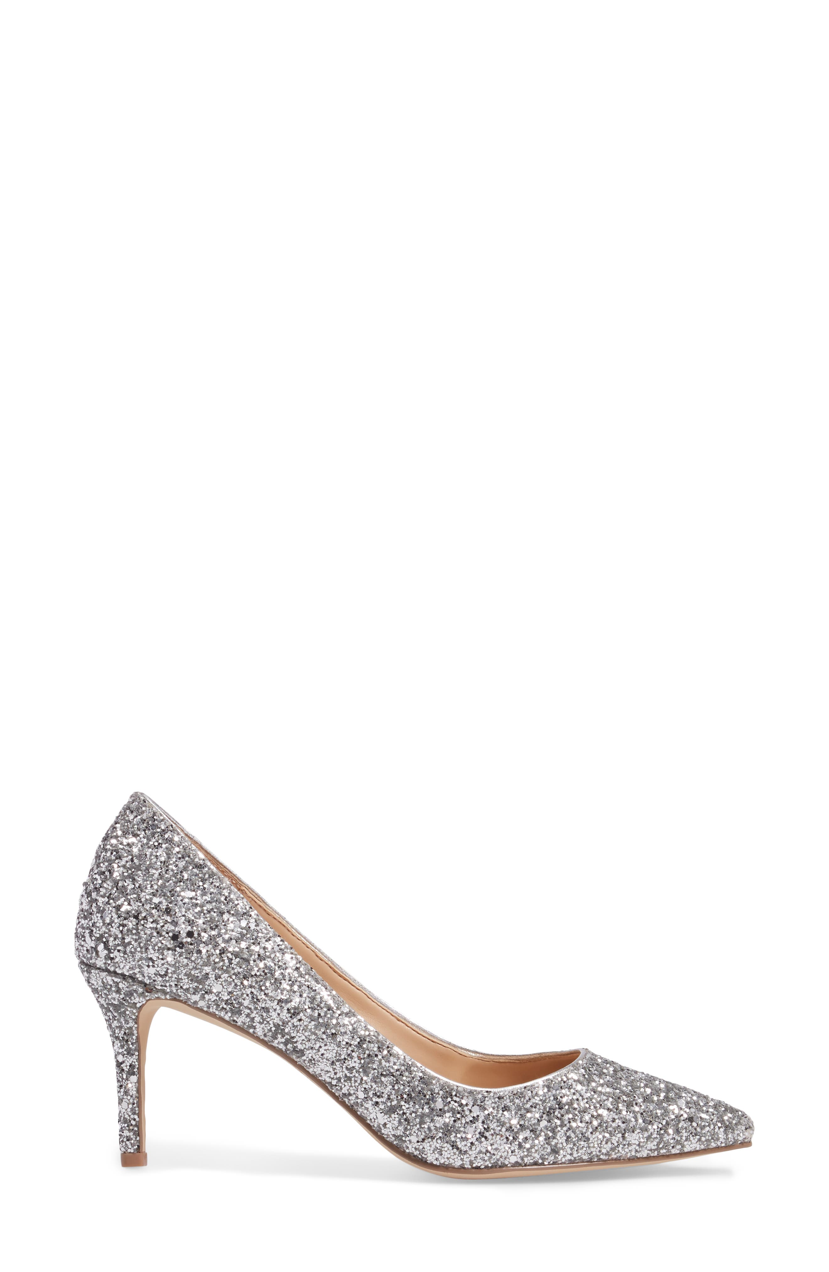 Lyla Glitter Pointy Toe Pump,                             Alternate thumbnail 3, color,                             Silver