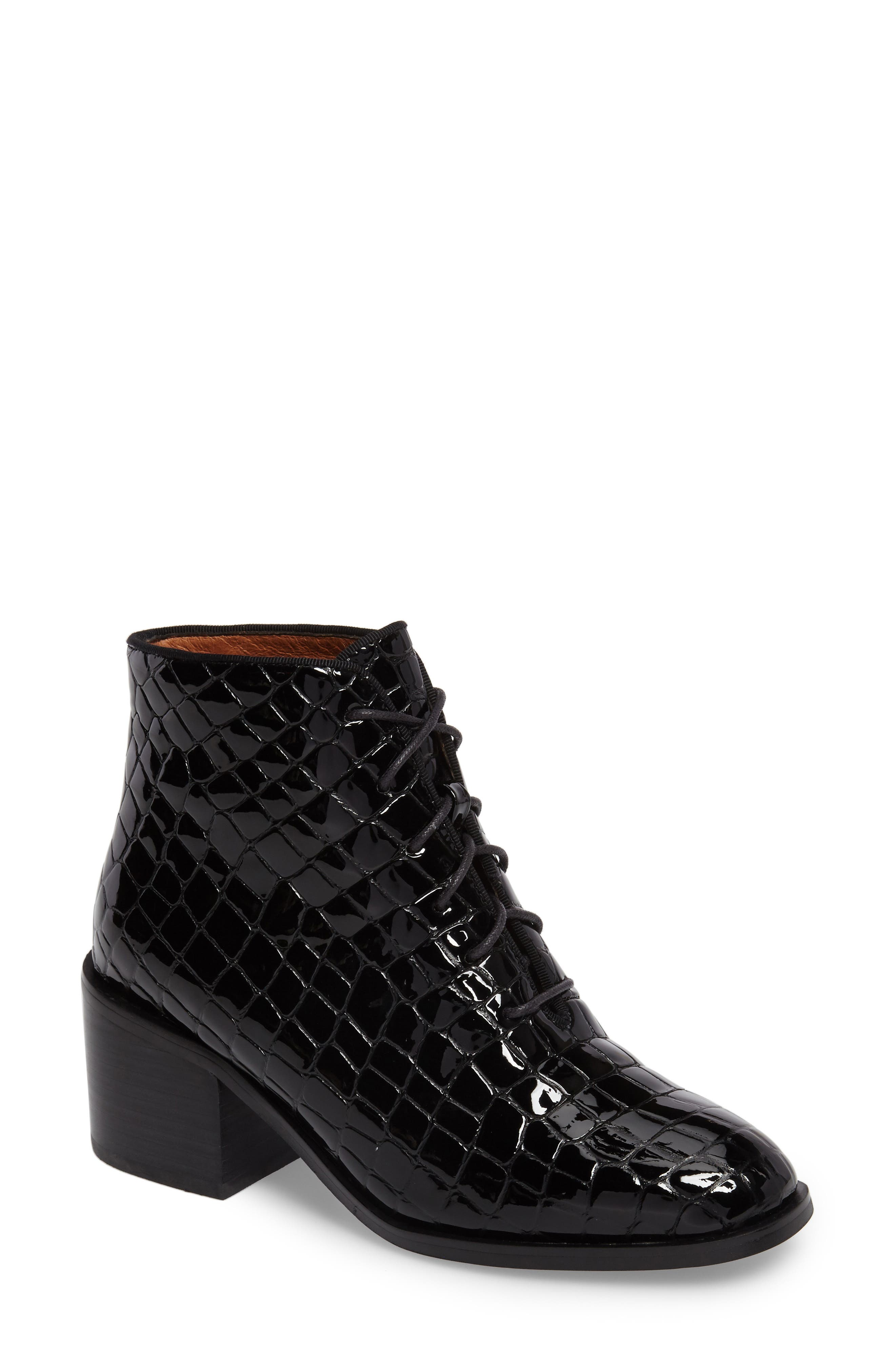 Talcott Block Heel Bootie,                             Main thumbnail 1, color,                             Black Patent Stone