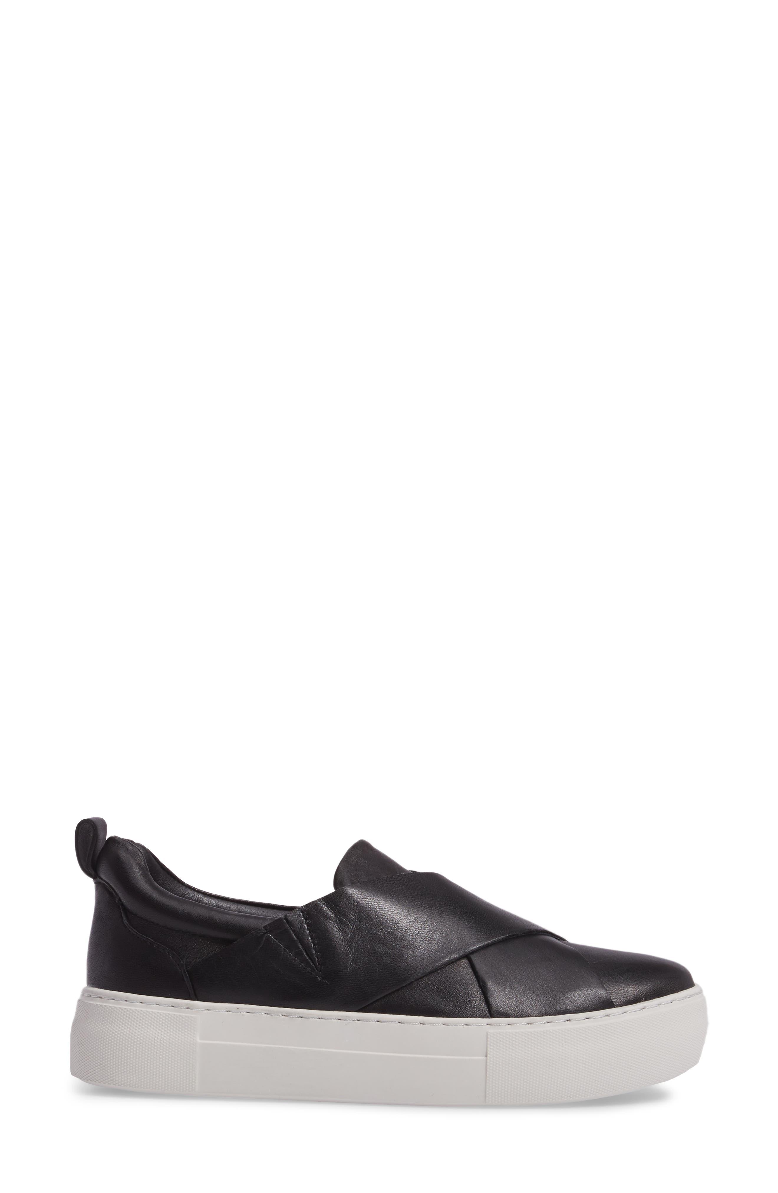 Alec Slip-On Sneaker,                             Alternate thumbnail 3, color,                             Black Leather