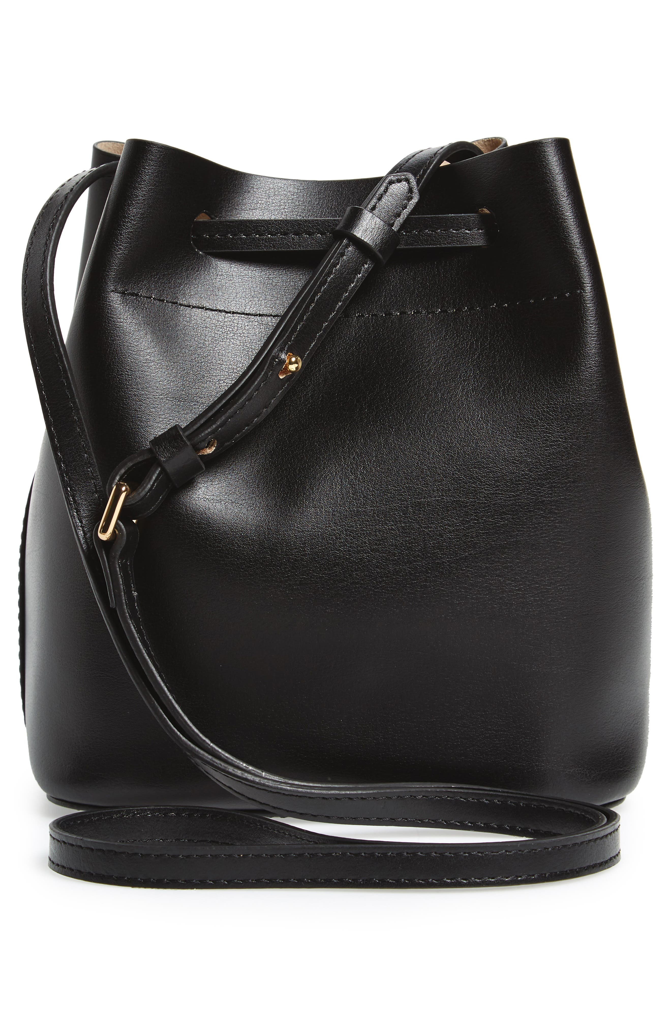 LODIS Small Silicon Valley Blake RFID Leather Bucket Bag,                             Alternate thumbnail 3, color,                             Black/ Taupe