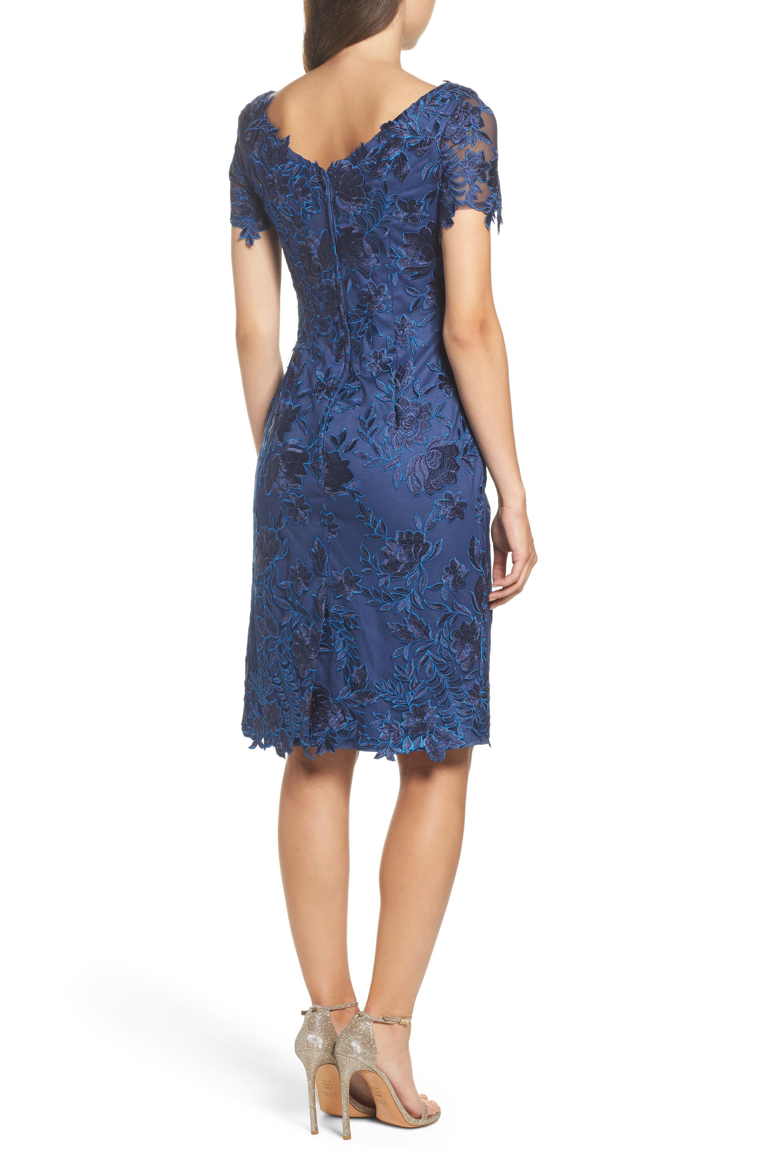Alternate Image 2  - La Femme Lace Sheath Dress