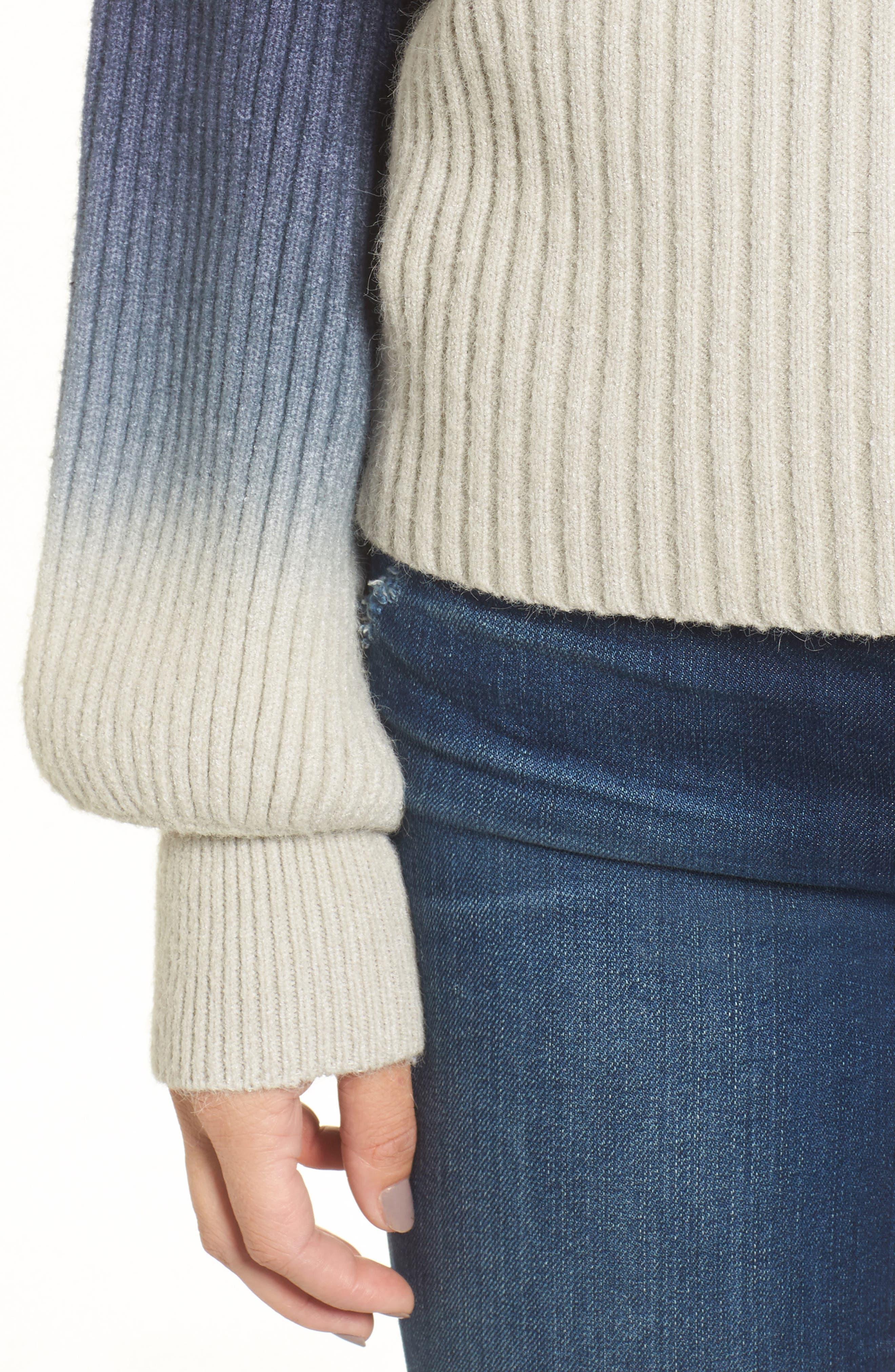 Ombré Sweater,                             Alternate thumbnail 4, color,                             Blue/ White
