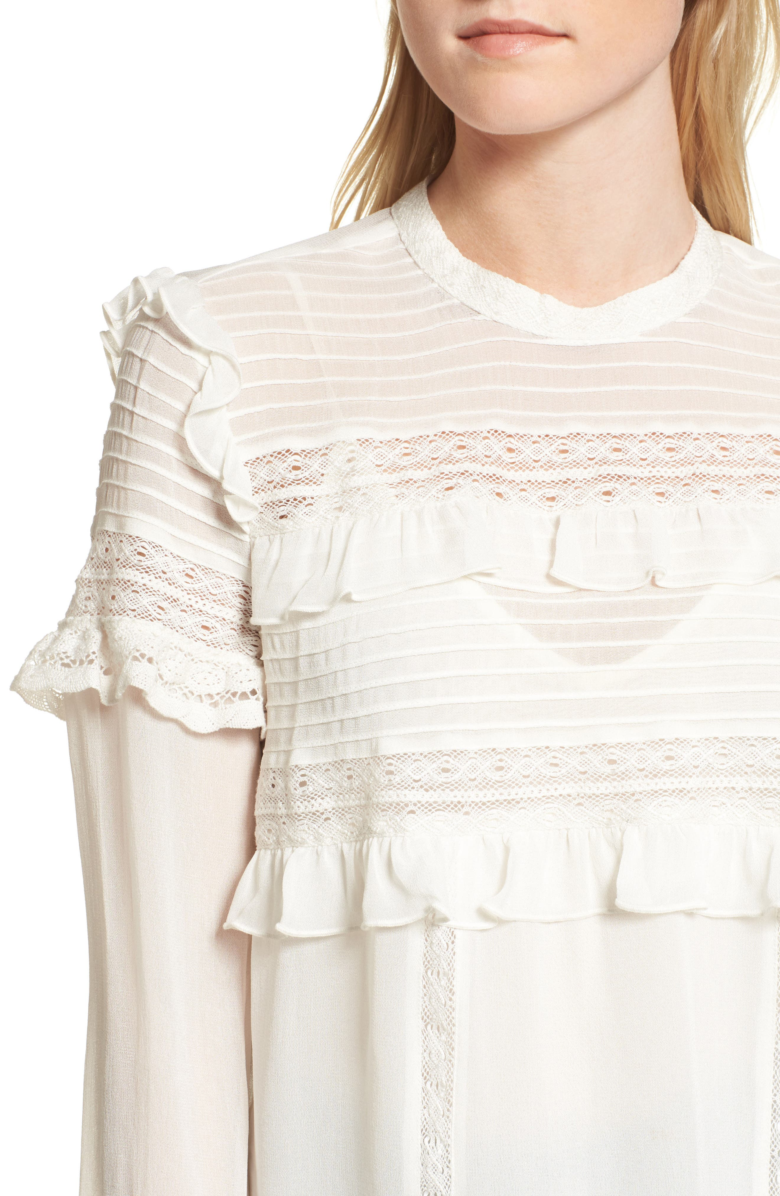 Ruffle Lace Top,                             Alternate thumbnail 5, color,                             Ivory