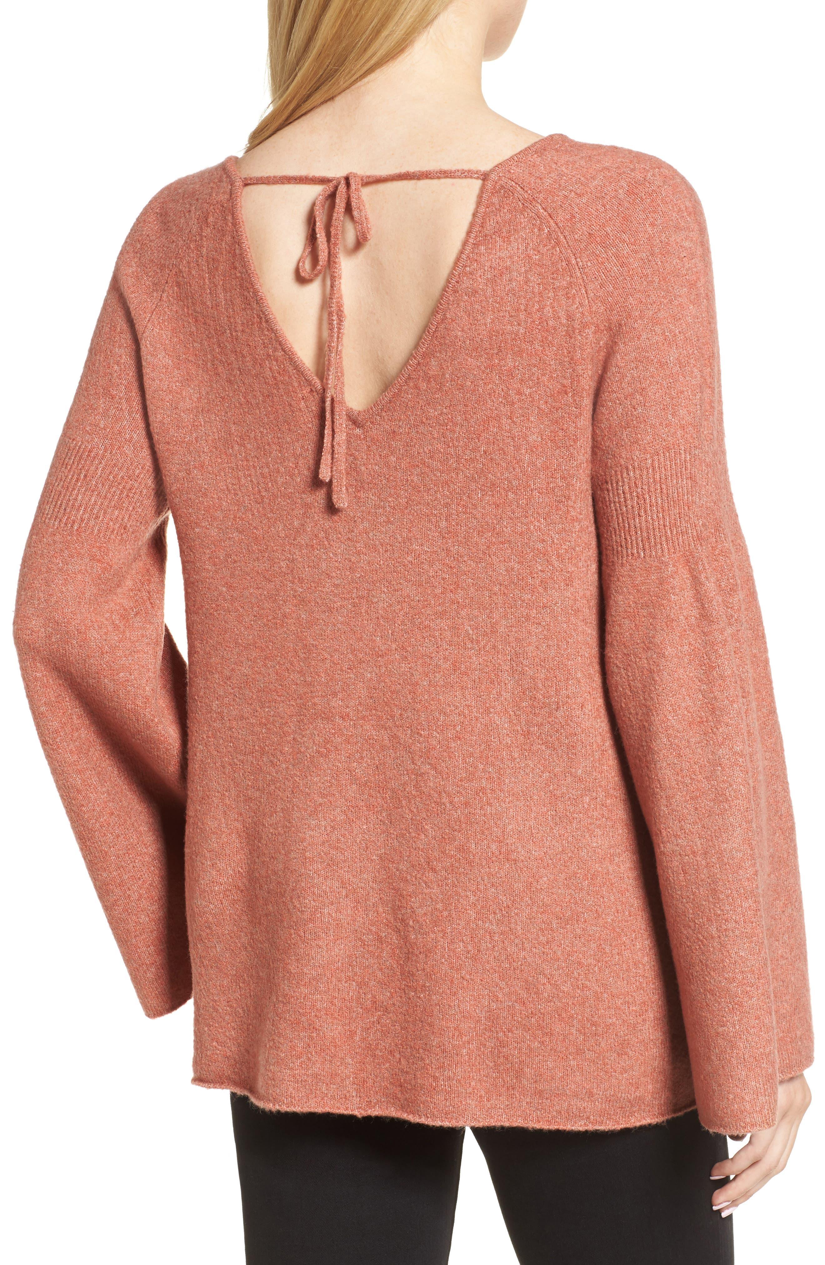 Bell Sleeve Sweater,                             Alternate thumbnail 2, color,                             Coral Rose Tea Rainbow Multi