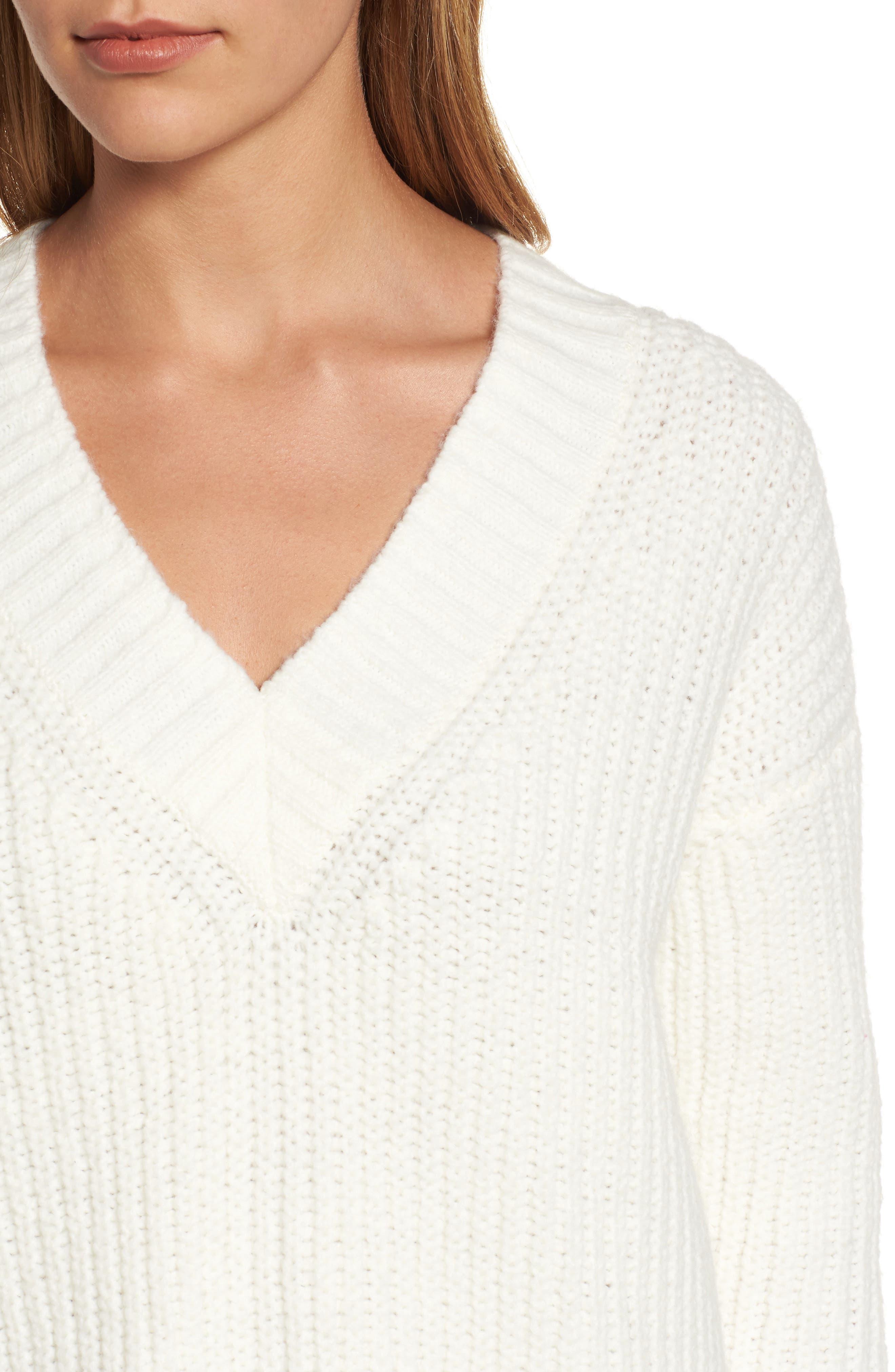 Lace Up Back V-Neck Sweater,                             Alternate thumbnail 4, color,                             Cream