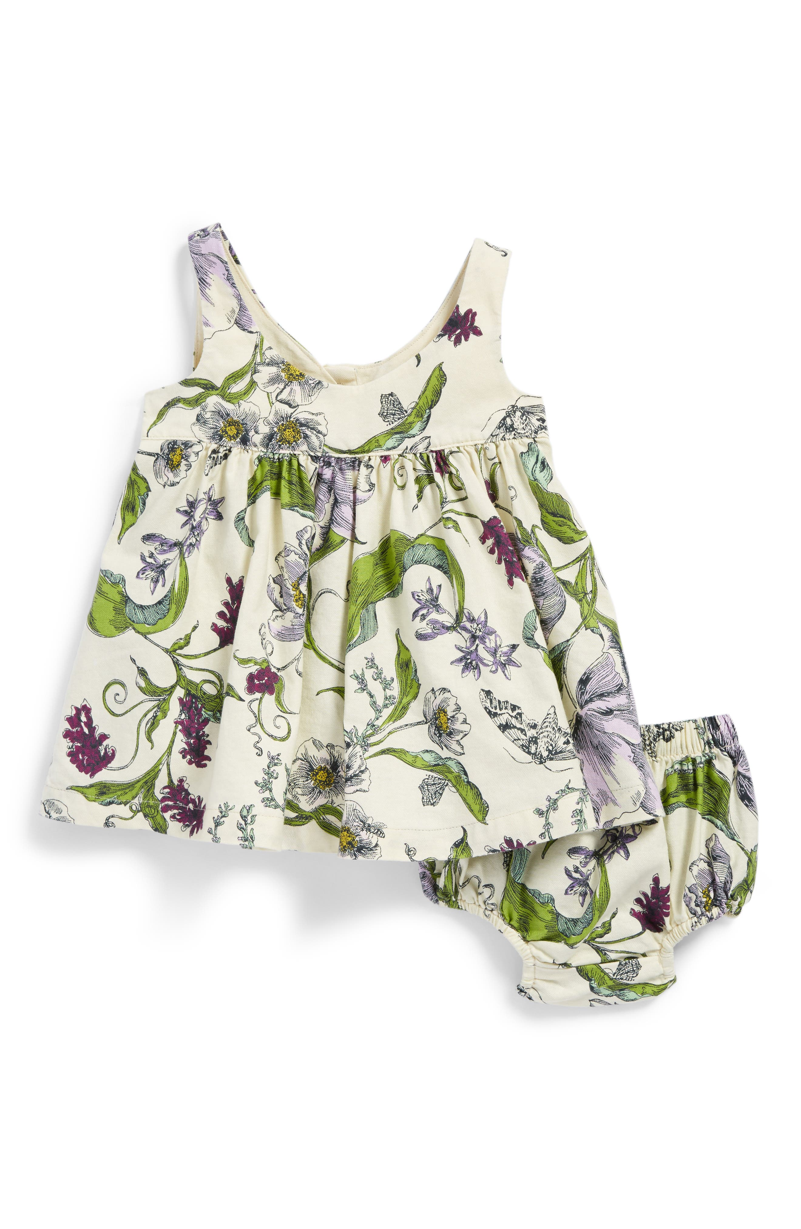 Tea Collection Wallpaper Floral Print Dress (Baby Girls)