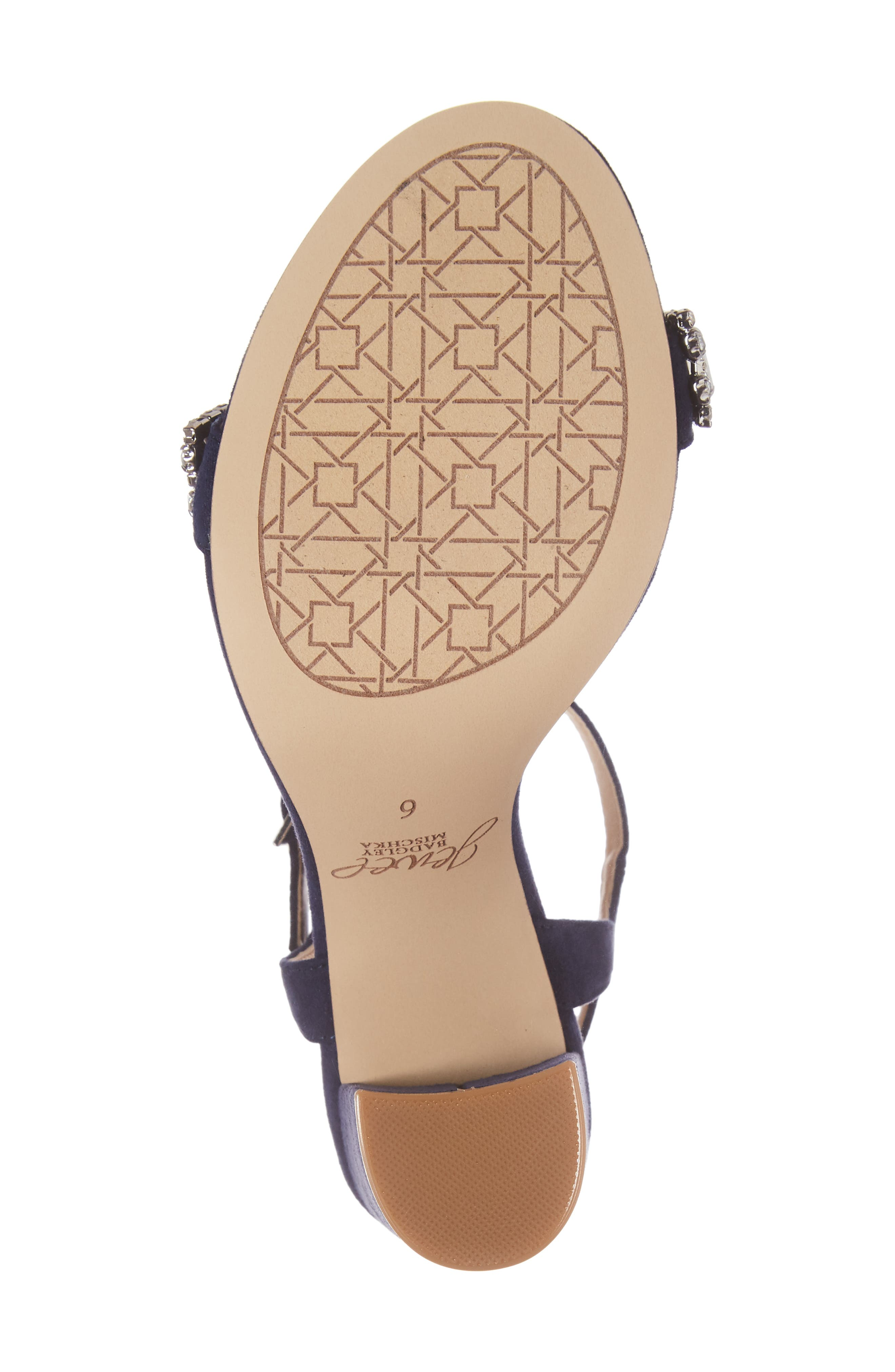 Hendricks Embellished Block Heel Sandal,                             Alternate thumbnail 5, color,                             Navy Suede