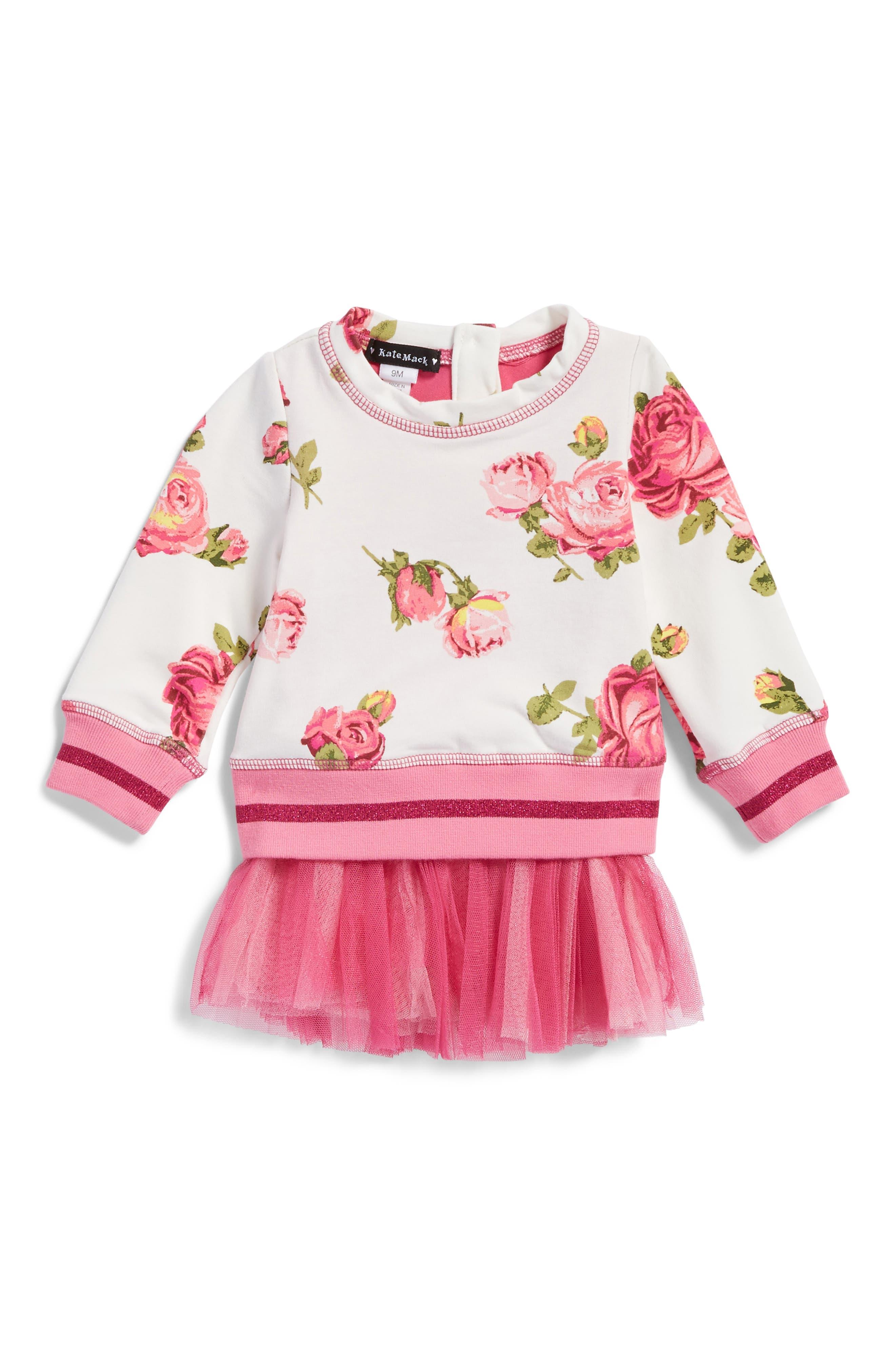 Kate Mack Floral Print Sweatshirt Tutu Dress (Baby Girls)