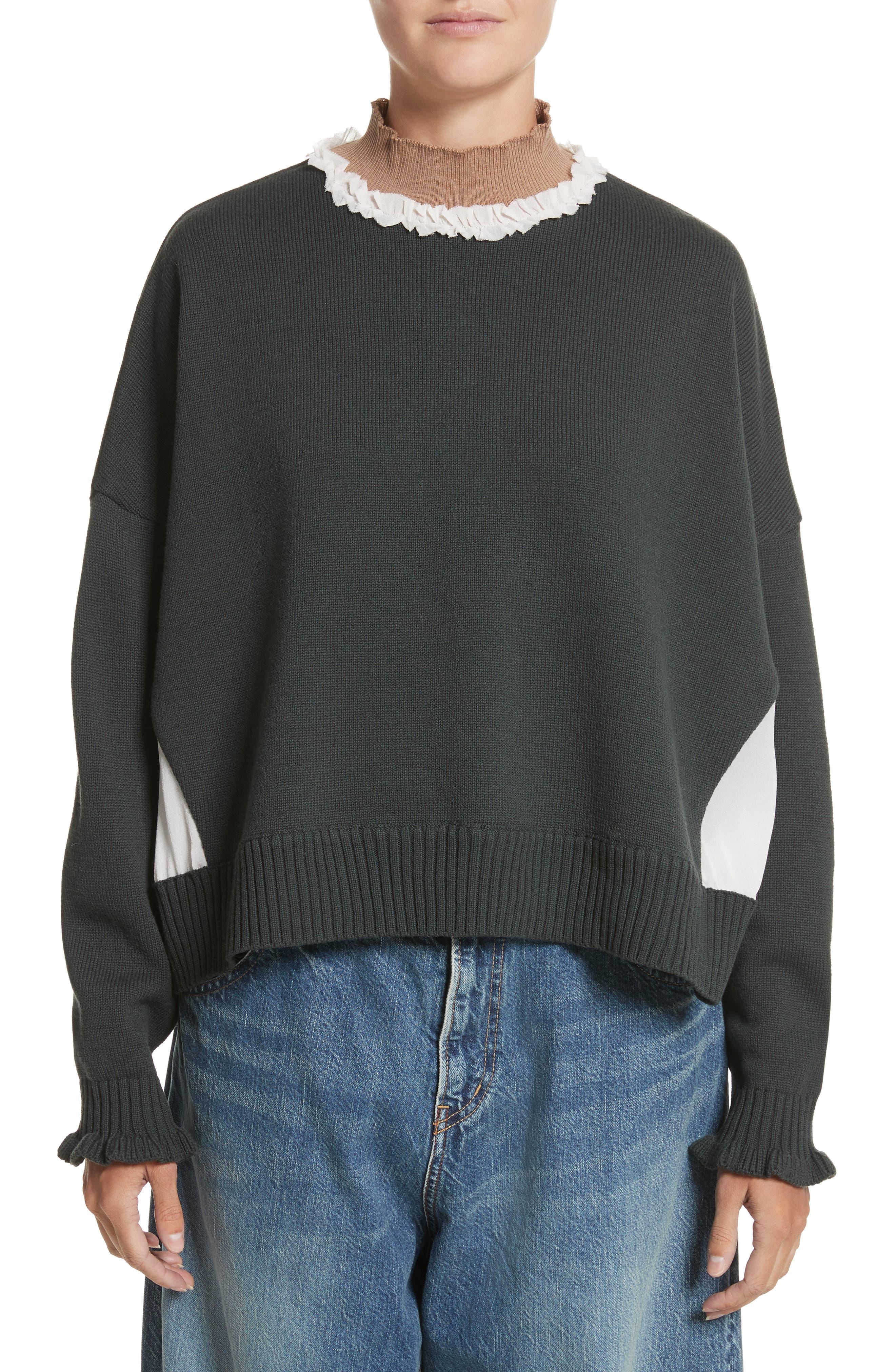 Ruffled Mock Neck Sweater,                         Main,                         color, D.Khaki