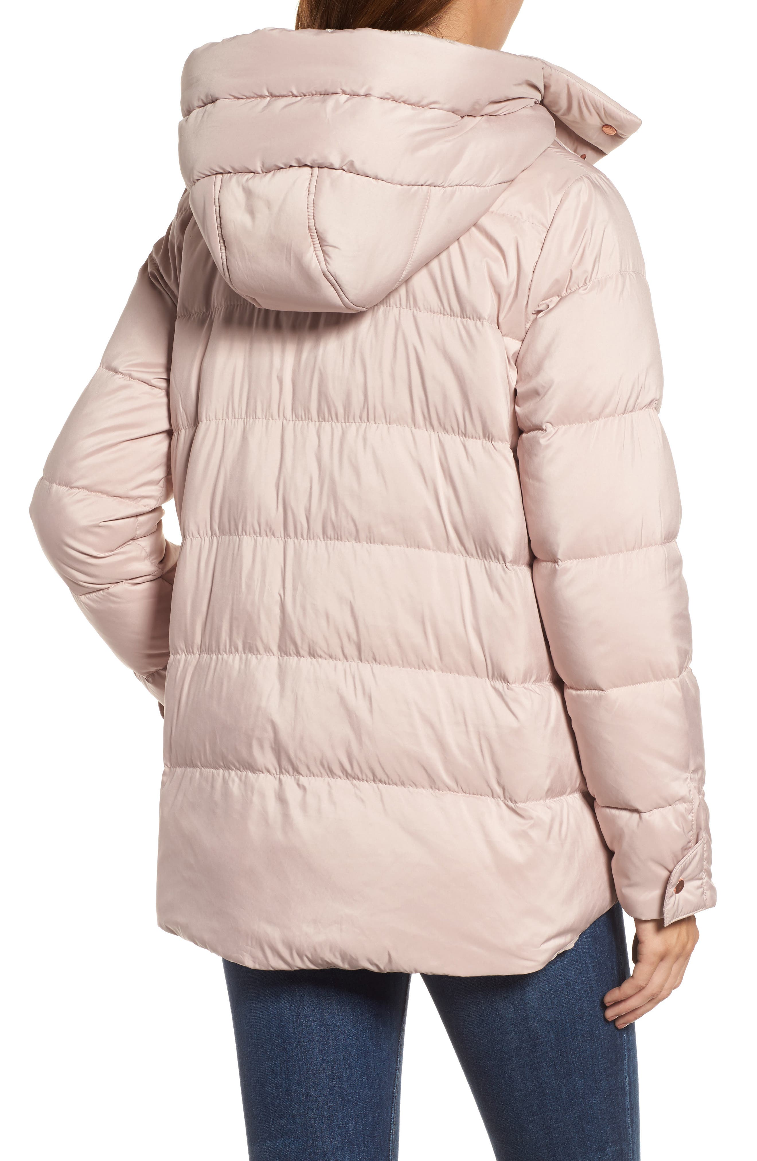 Hooded Puffer Jacket,                             Alternate thumbnail 3, color,                             Petal Pink