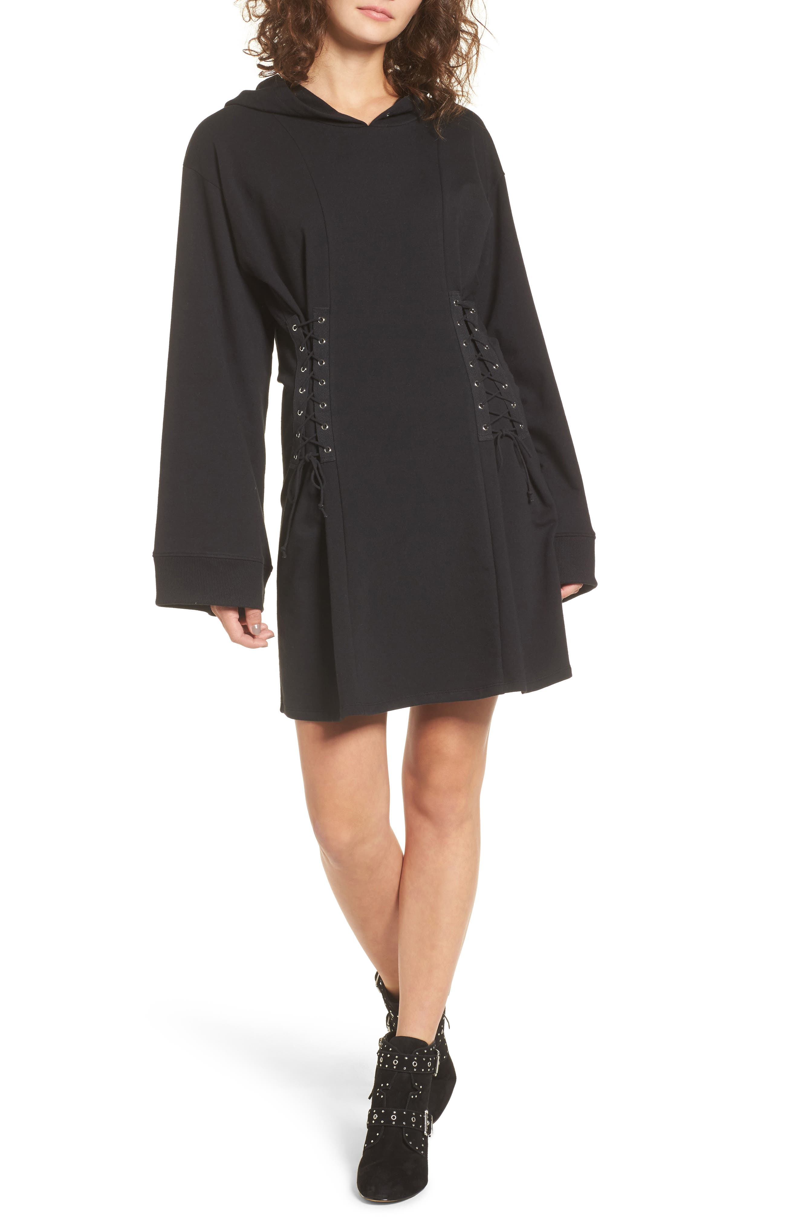 Corset Hoodie Sweatshirt Dress,                         Main,                         color, Black