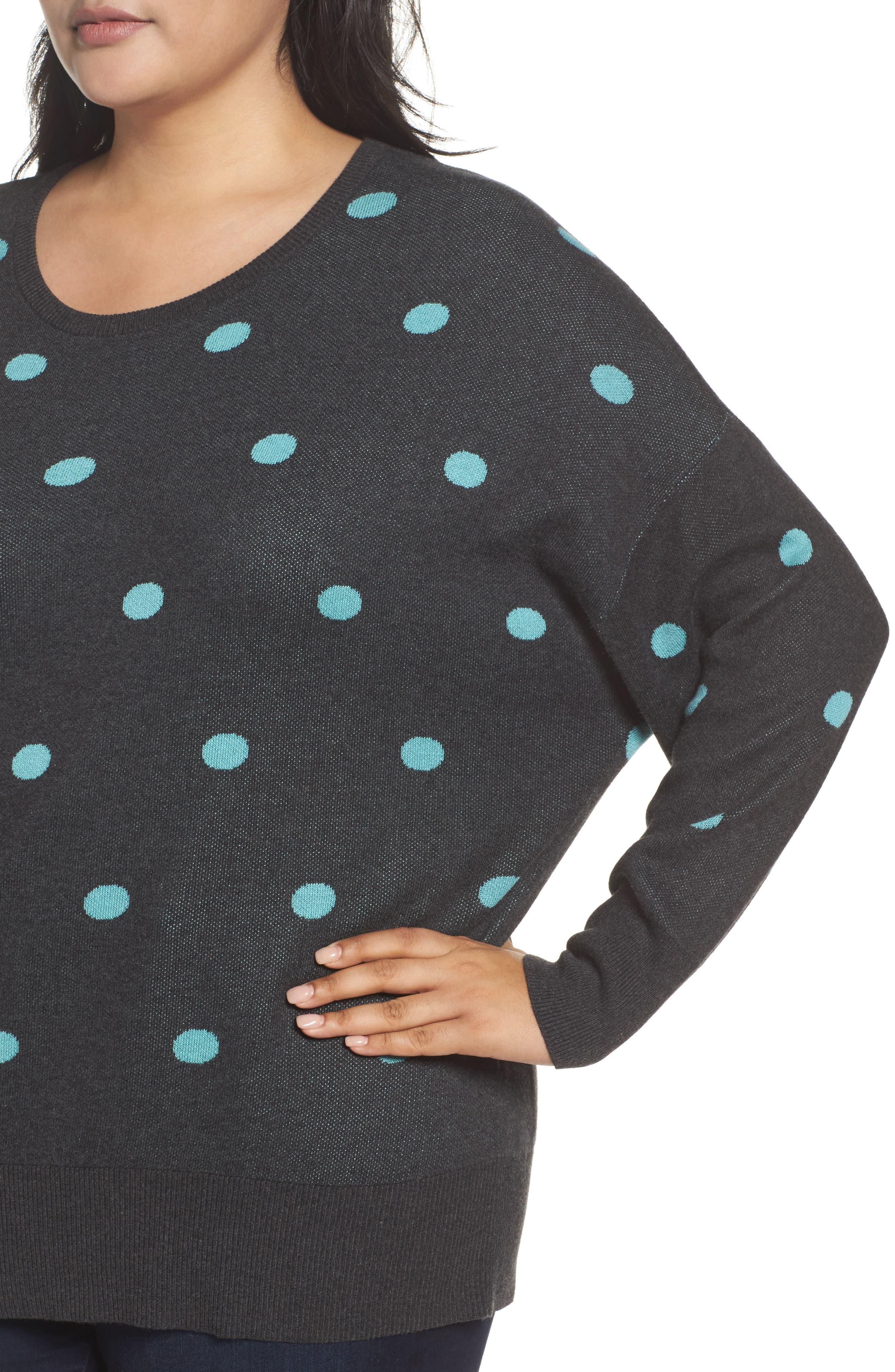 Dolman Sleeve Crewneck Sweater,                             Alternate thumbnail 4, color,                             Grey- Blue Dots Pattern