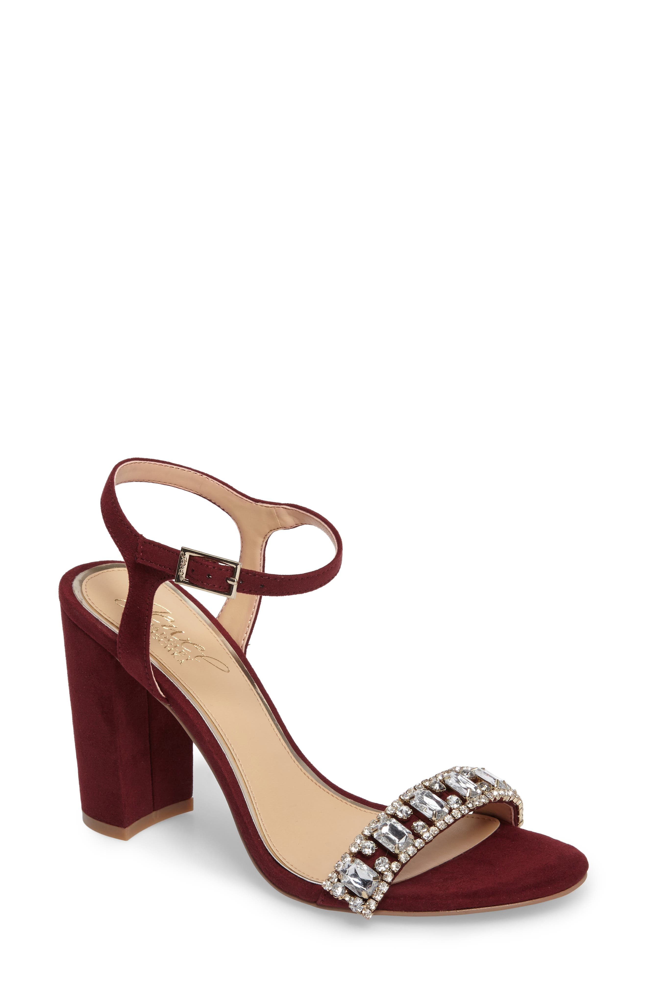 Main Image - Jewel Badgley Mischka Hendricks Embellished Block Heel Sandal (Women)