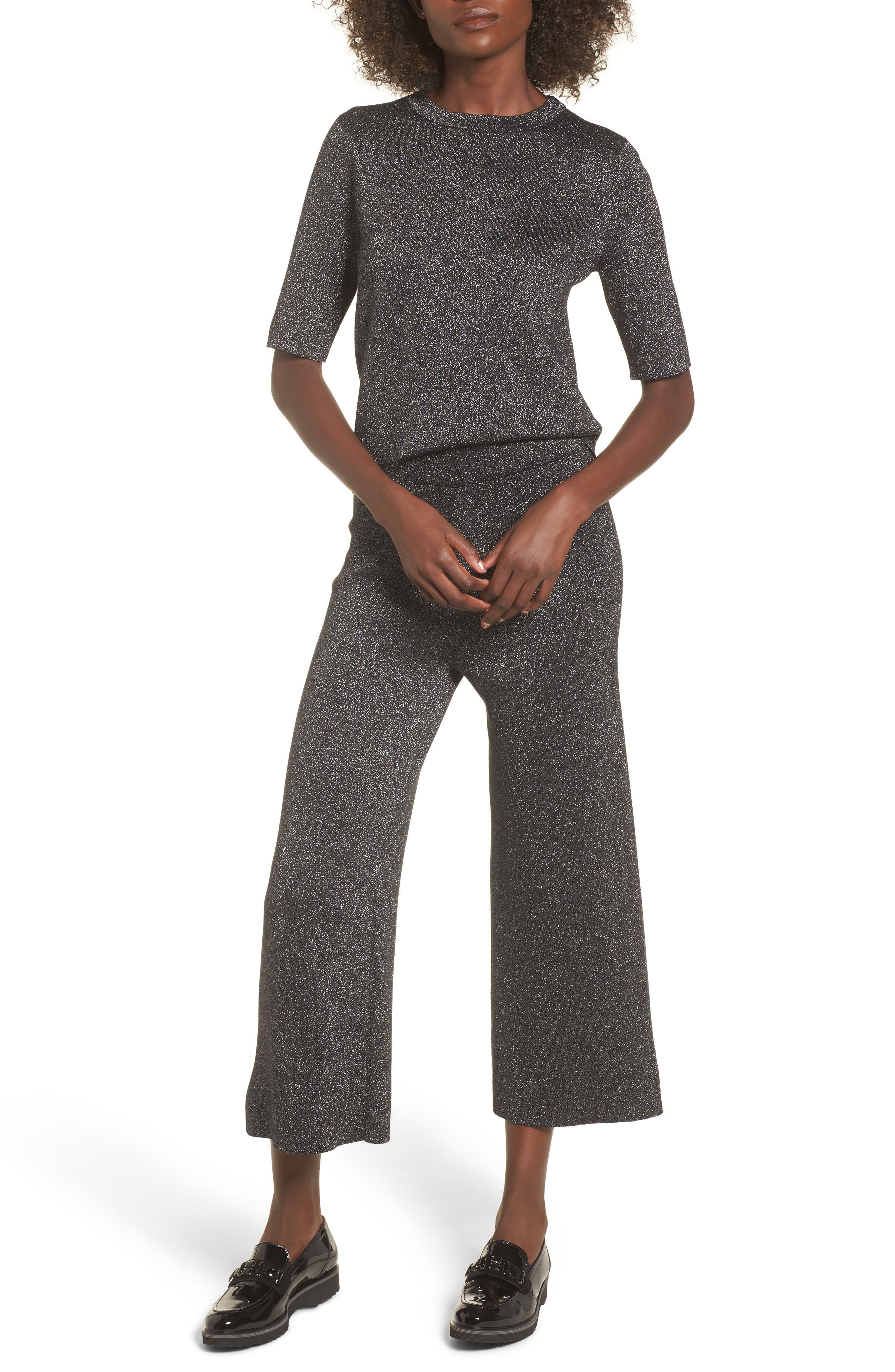 Crop Metallic Sweater,                             Alternate thumbnail 2, color,                             Black Metallic