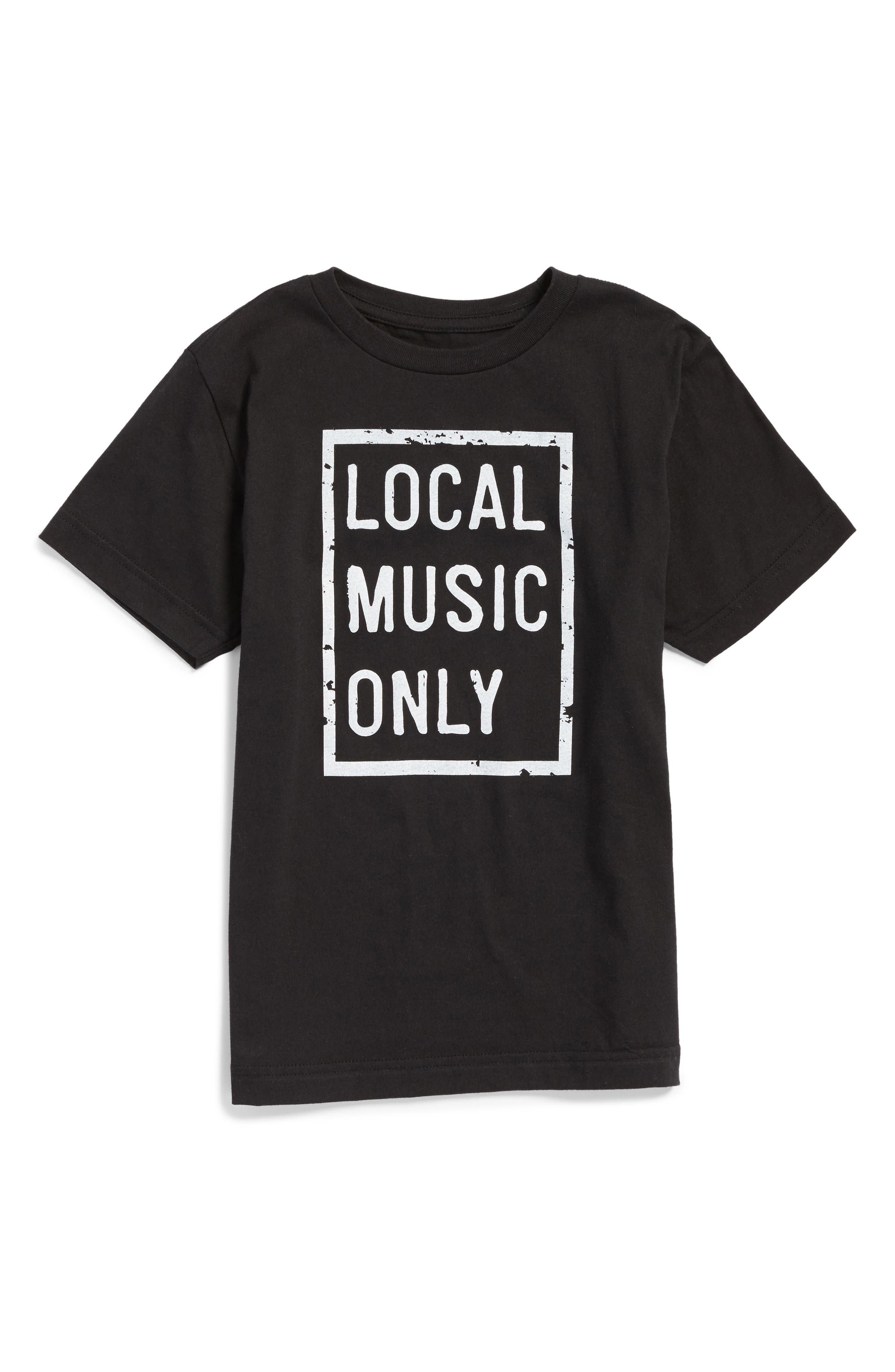 Local Music Only Graphic T-Shirt,                         Main,                         color, Vintage Black