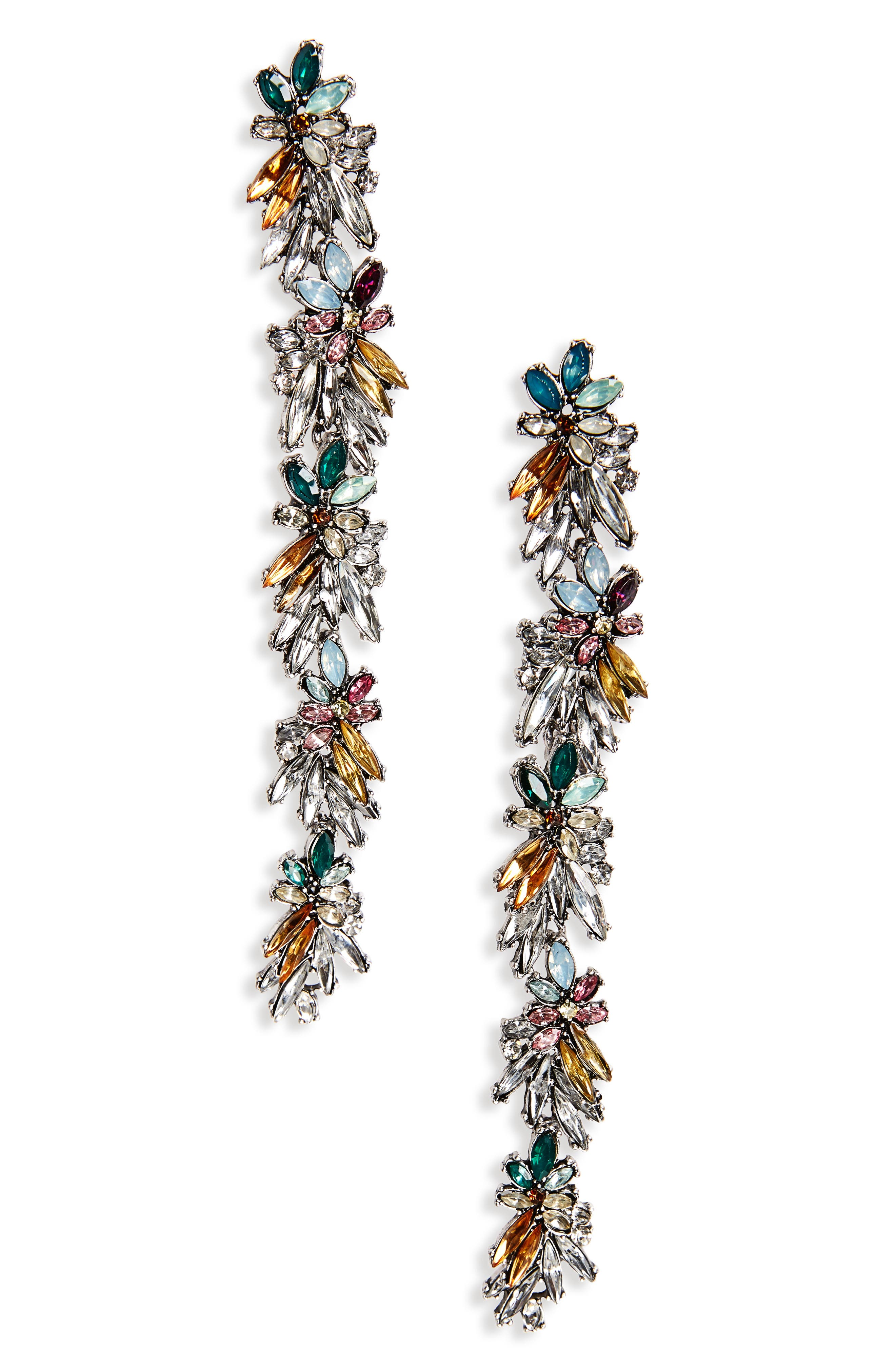 Floral Drop Earrings,                         Main,                         color, Silver/ Multi