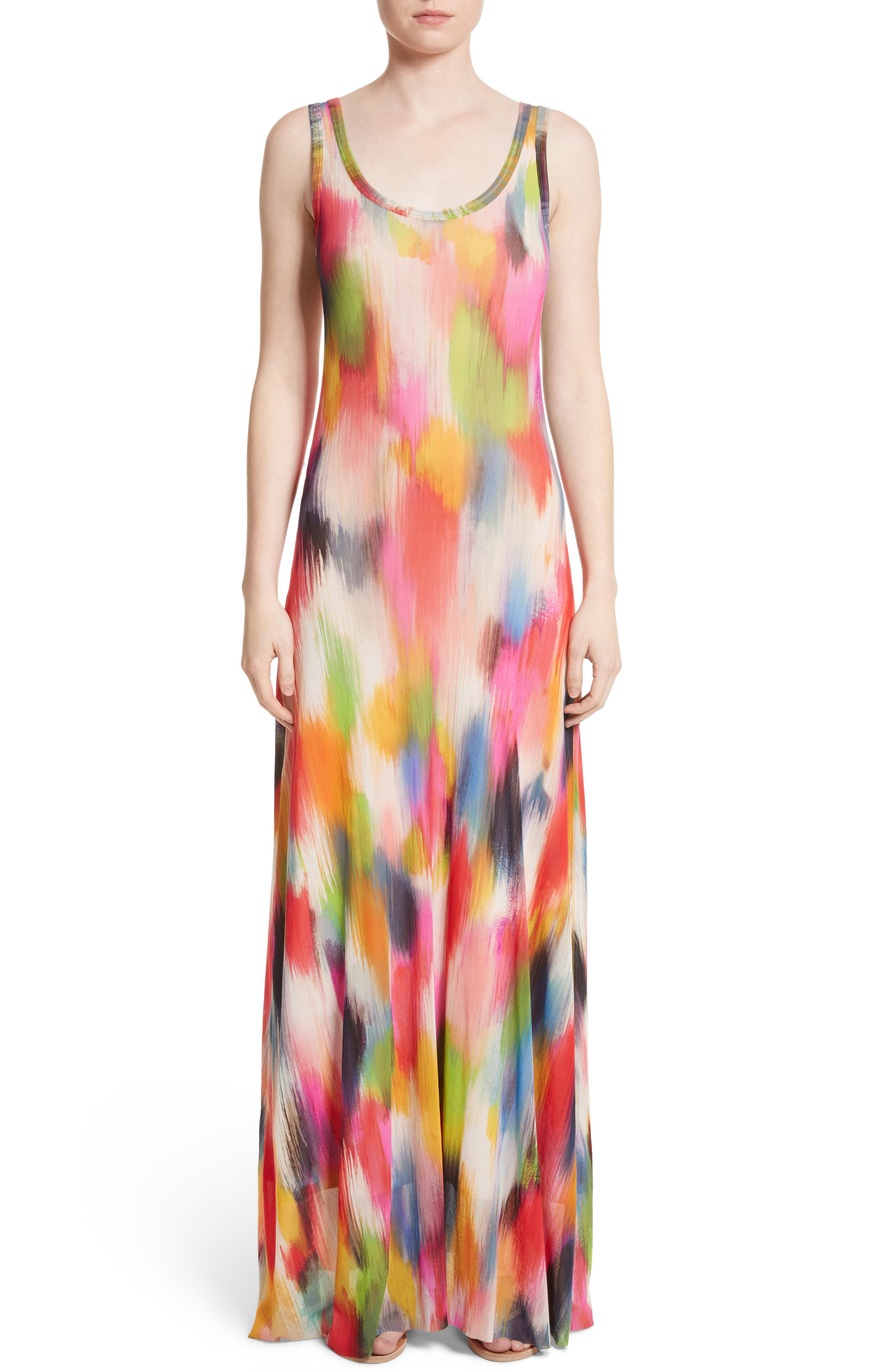 Fuzzi Brushstroke Print Tulle Maxi Dress