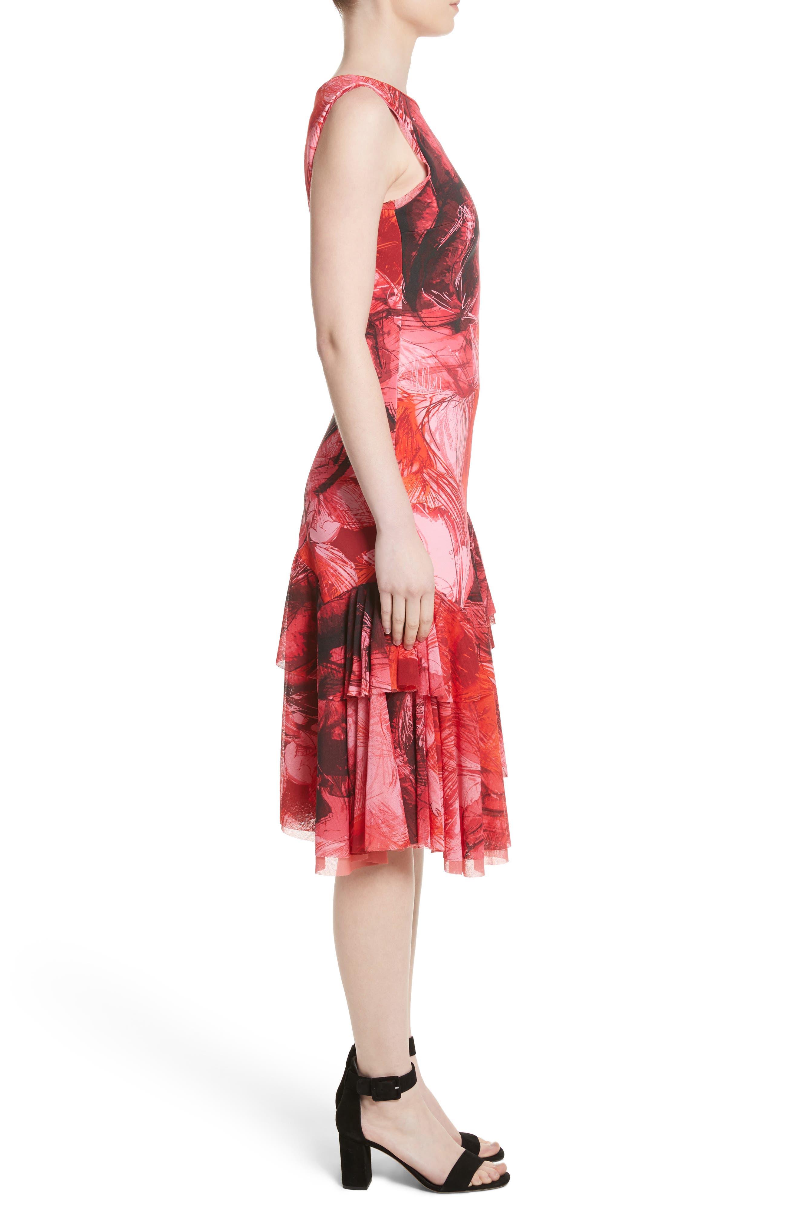 Print Tulle Ruffle Hem Dress,                             Alternate thumbnail 3, color,                             Lima