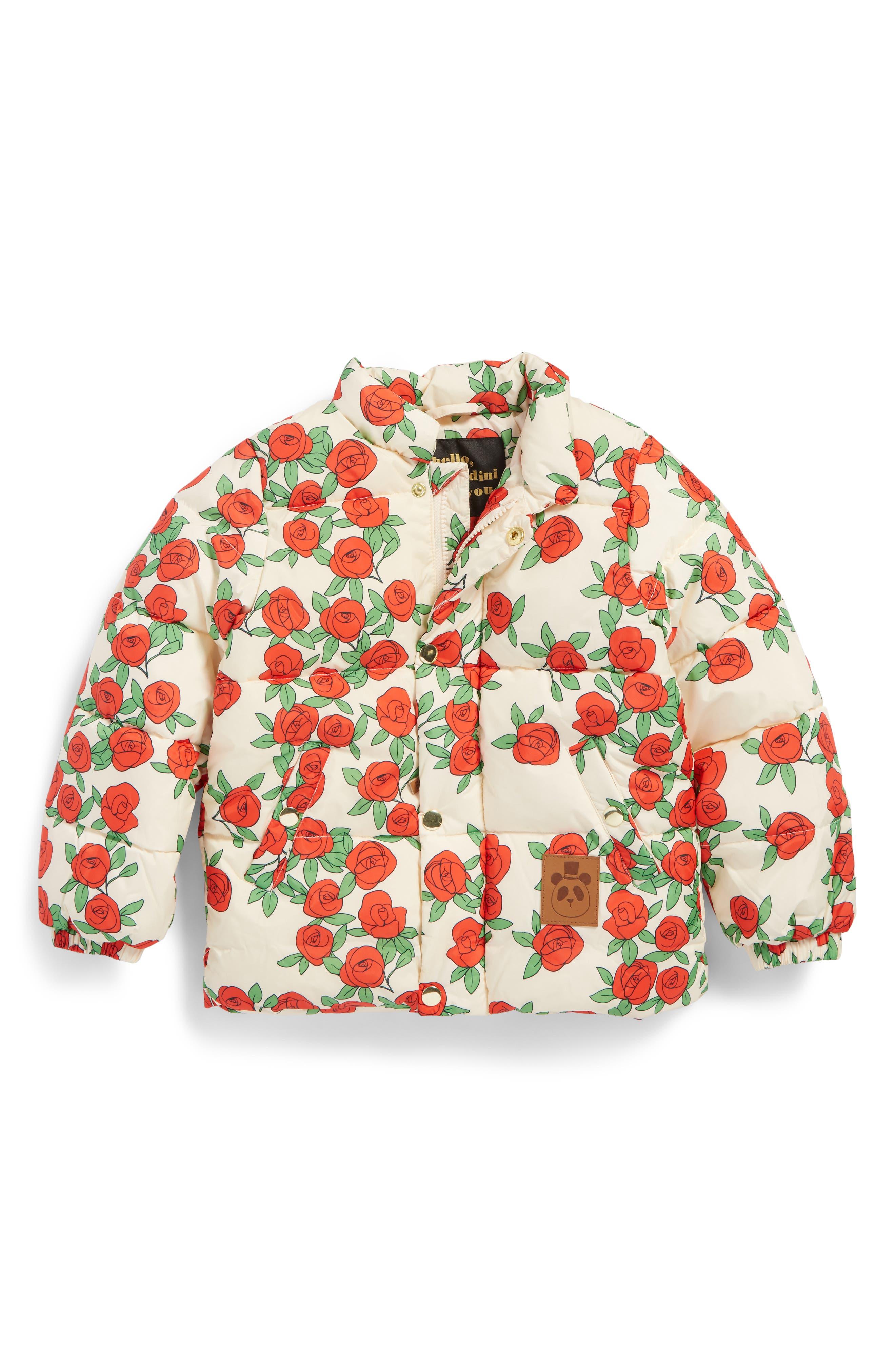 Mini Rodini Rose Print Water Resistant Puffer Jacket (Toddler Girls & Little Girls)