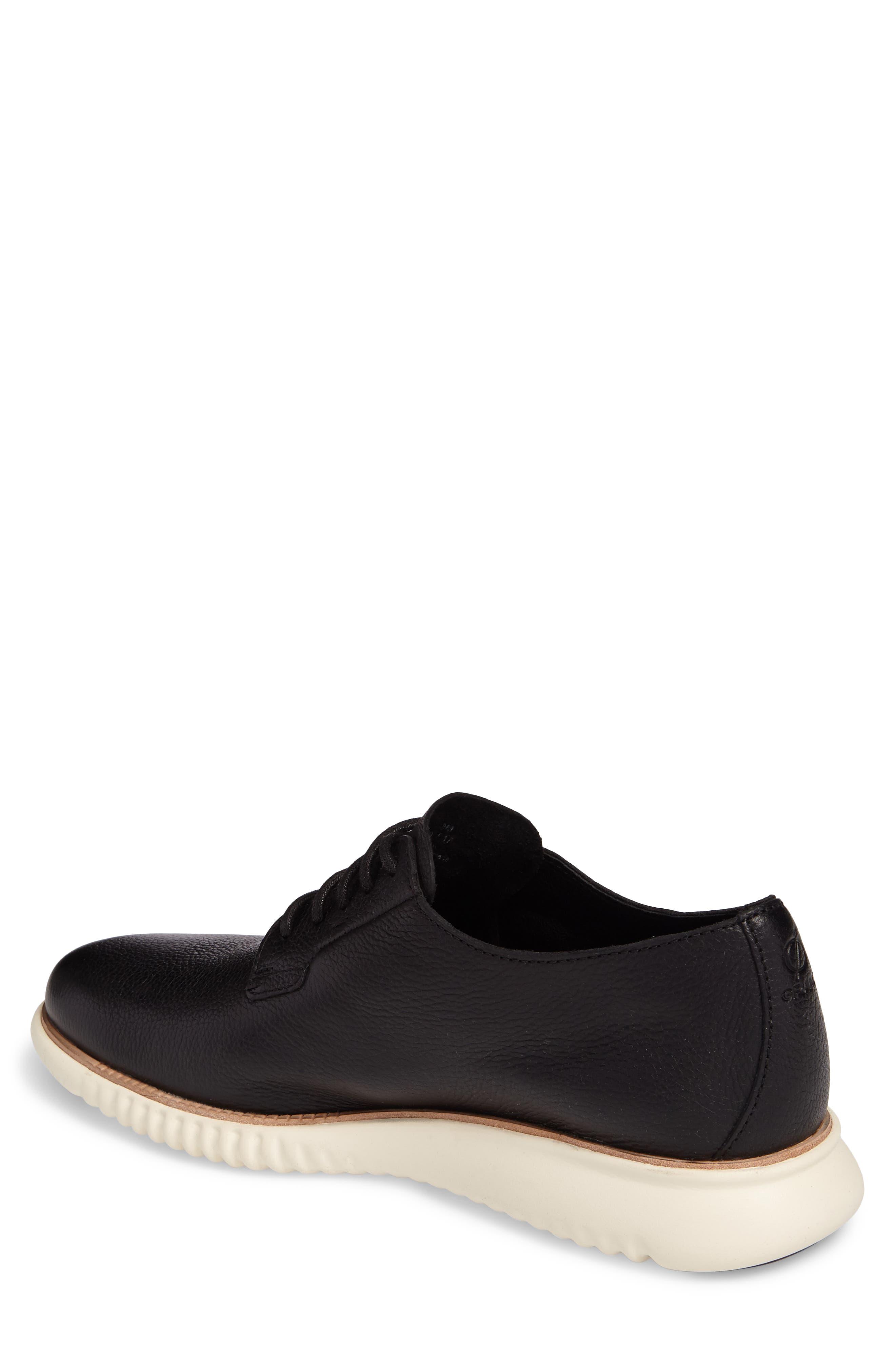 2.ZeroGrand Plain Toe Derby,                             Alternate thumbnail 2, color,                             Black/ Ivory Leather