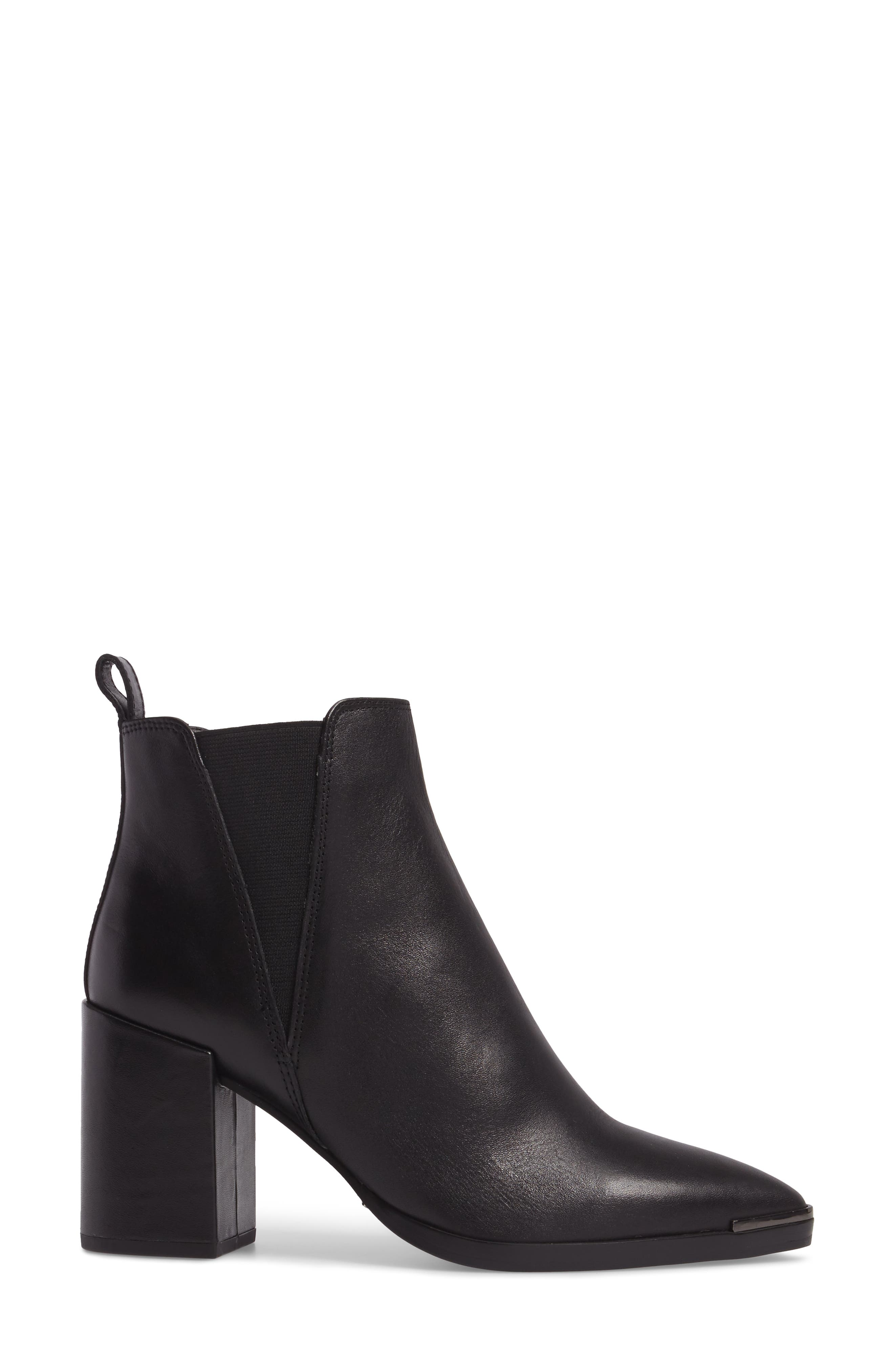 Bello Pointy Toe Bootie,                             Alternate thumbnail 3, color,                             Black Jetta Leather
