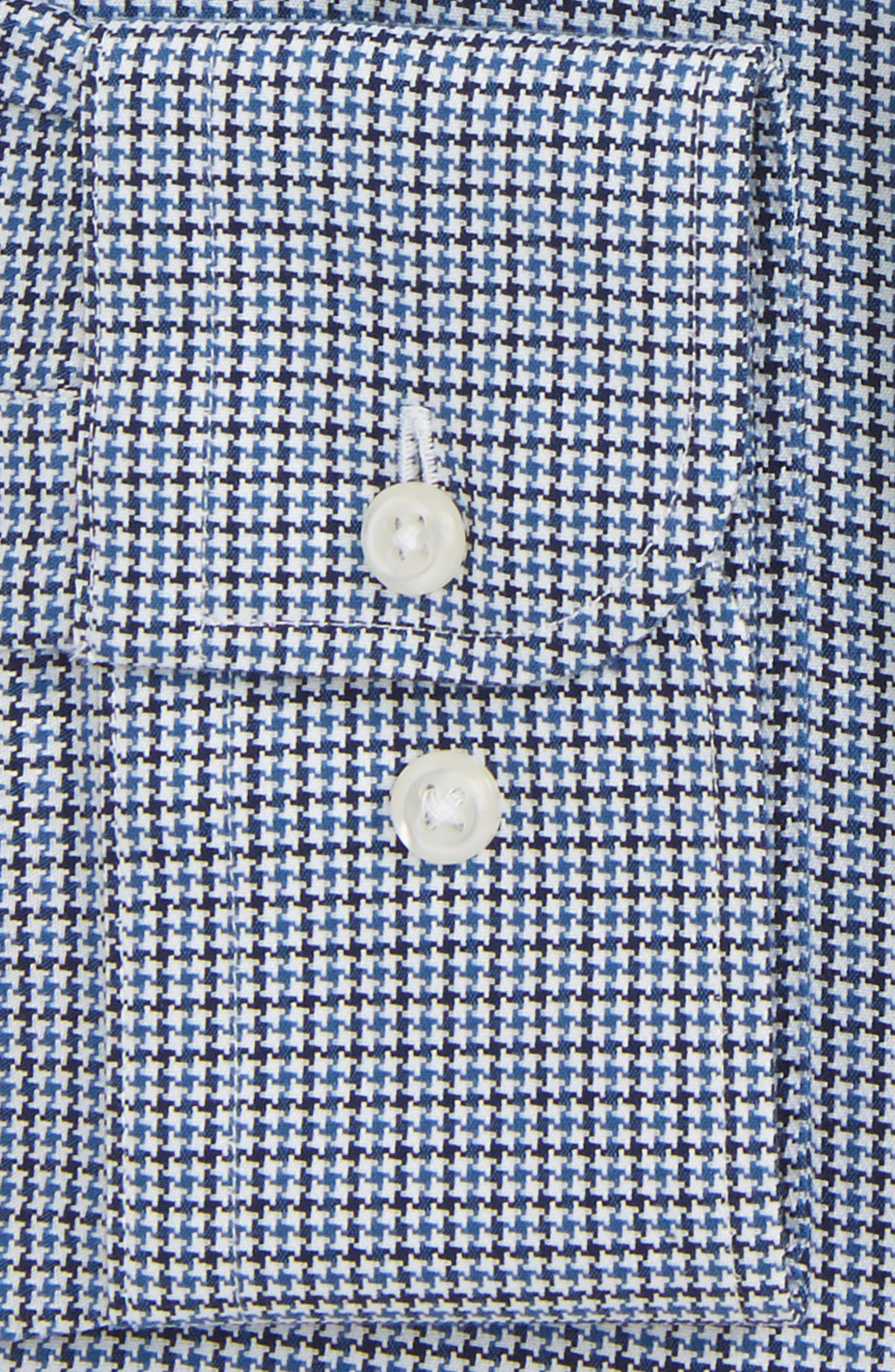 Smartcare<sup>™</sup> Traditional Fit Houndstooth Dress Shirt,                             Alternate thumbnail 5, color,                             Navy Medieval