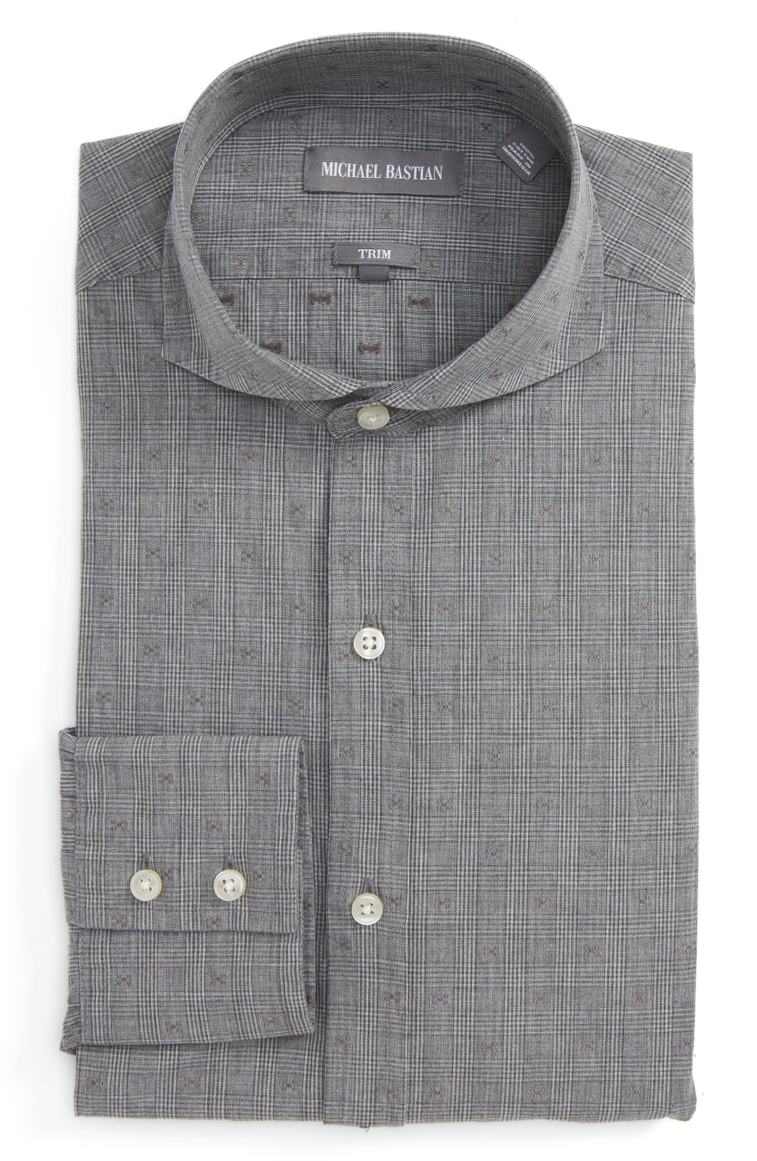 Trim Fit Glenn Plaid Dress Shirt,                         Main,                         color, Grey