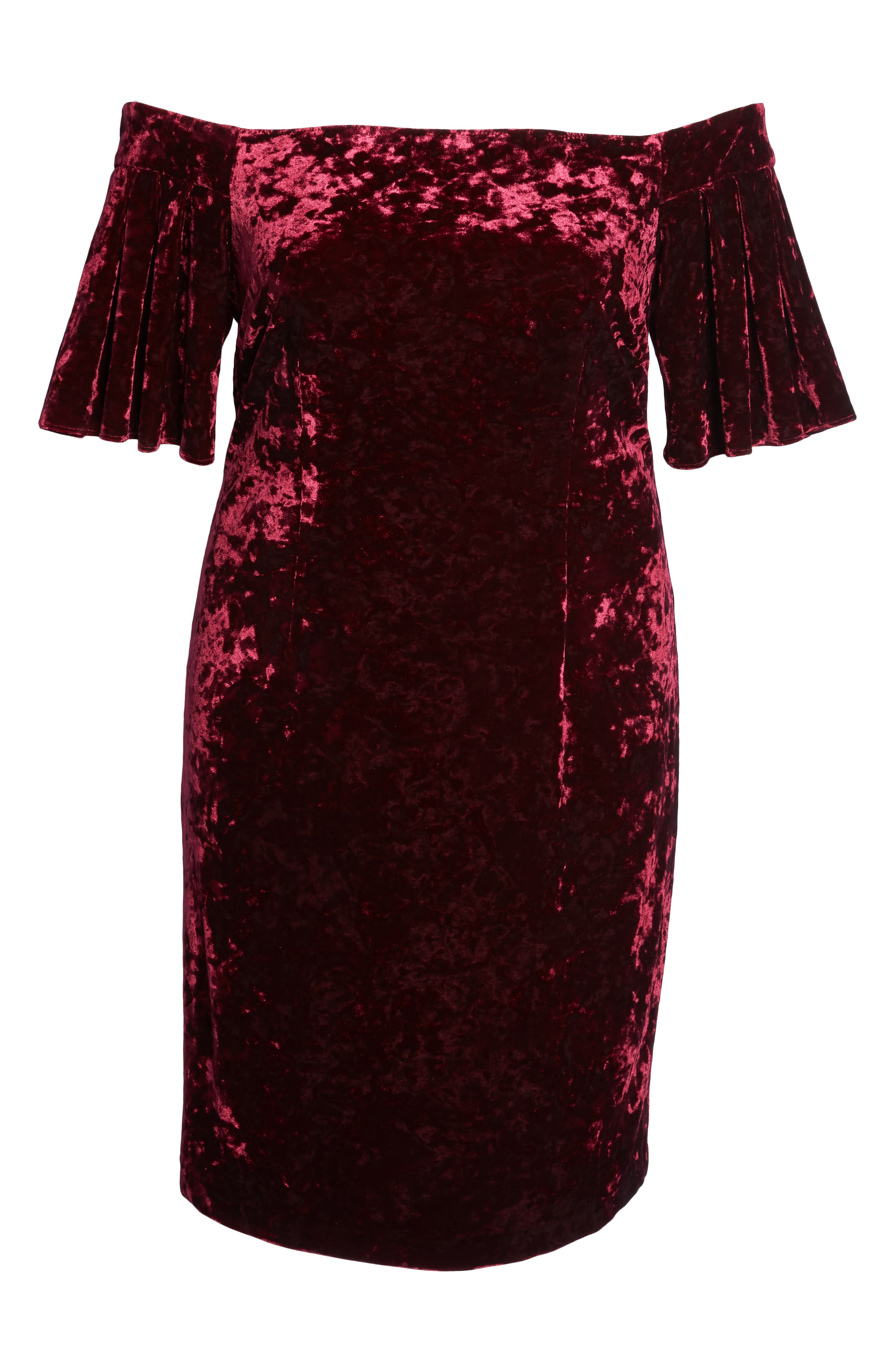 Alternate Image 6  - Eliza J Off the Shoulder Velvet Sheath Dress (Plus Size)