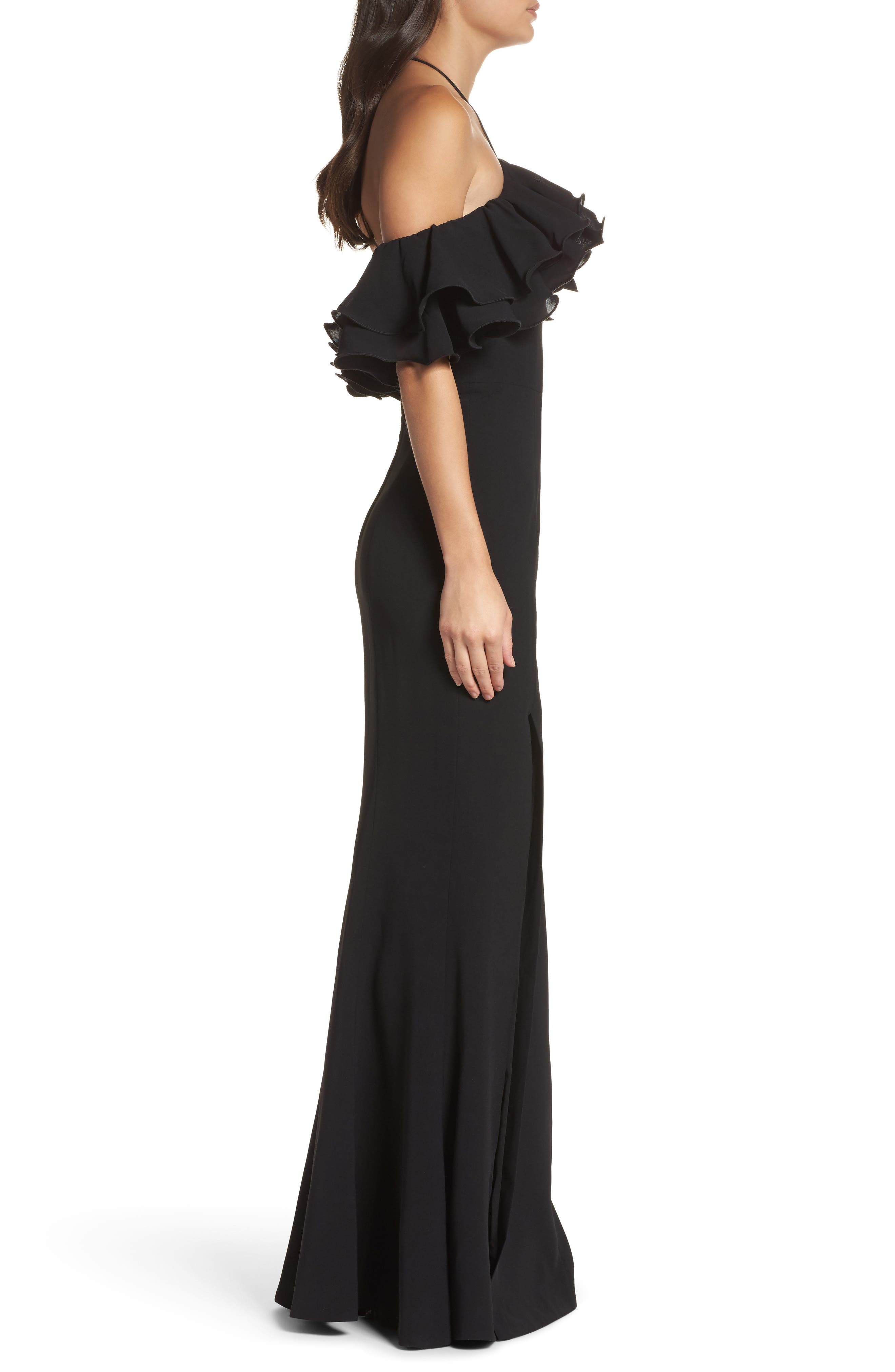 Immerse Ruffle Halter Gown,                             Alternate thumbnail 3, color,                             Black
