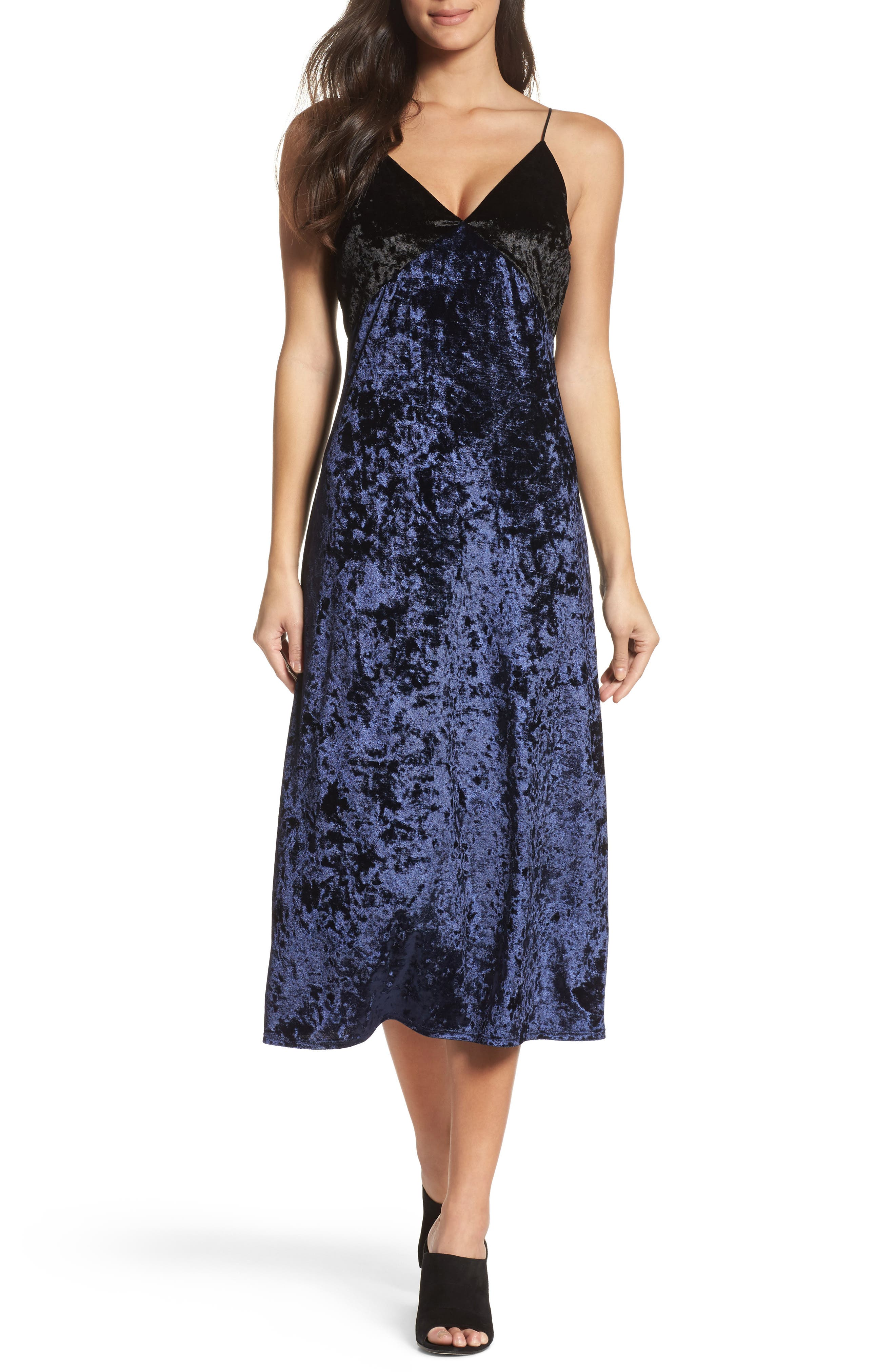 Crushed Velvet Slipdress,                             Main thumbnail 1, color,                             Navy/ Black