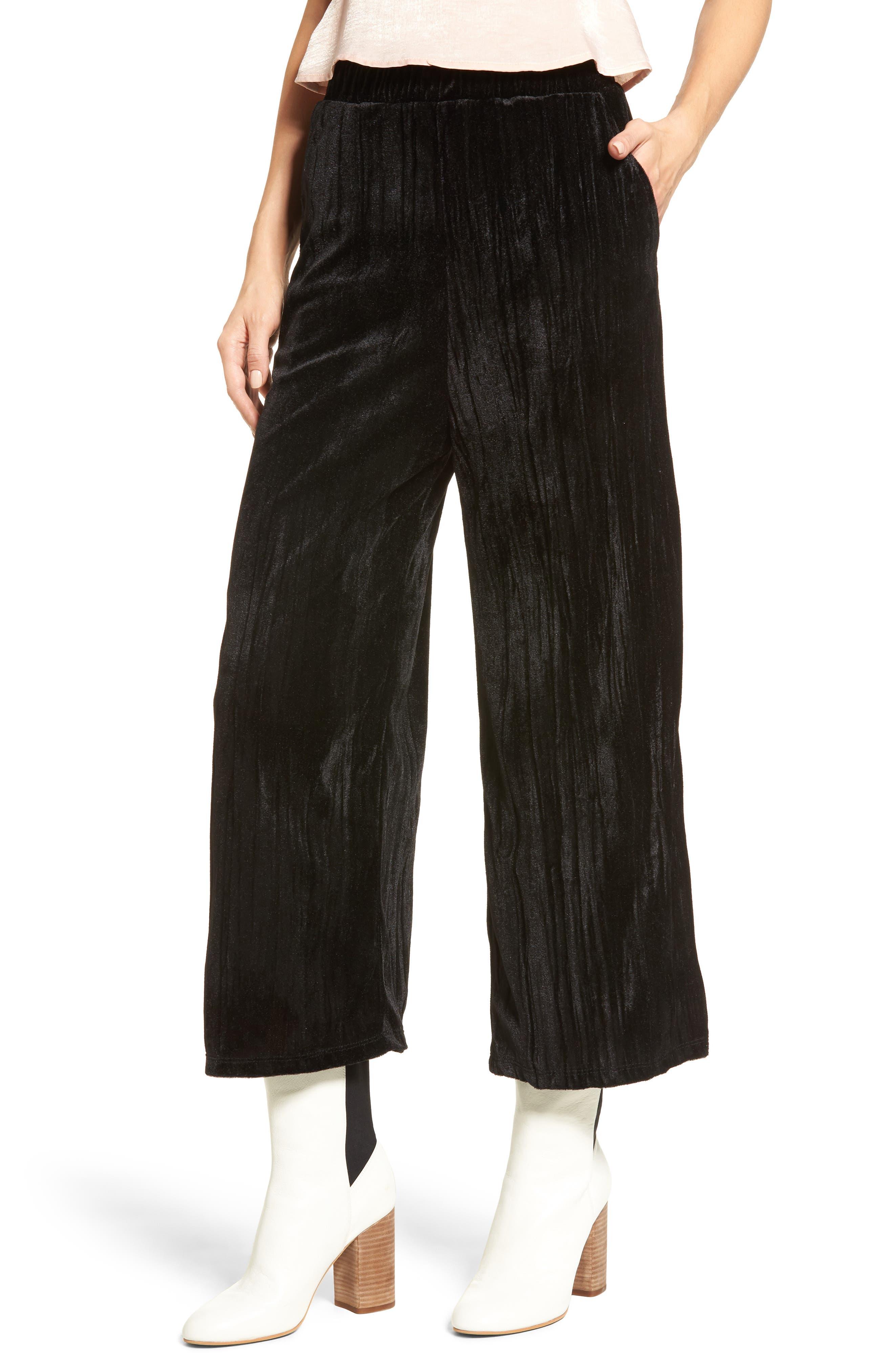 Velvet Culottes,                         Main,                         color, Black